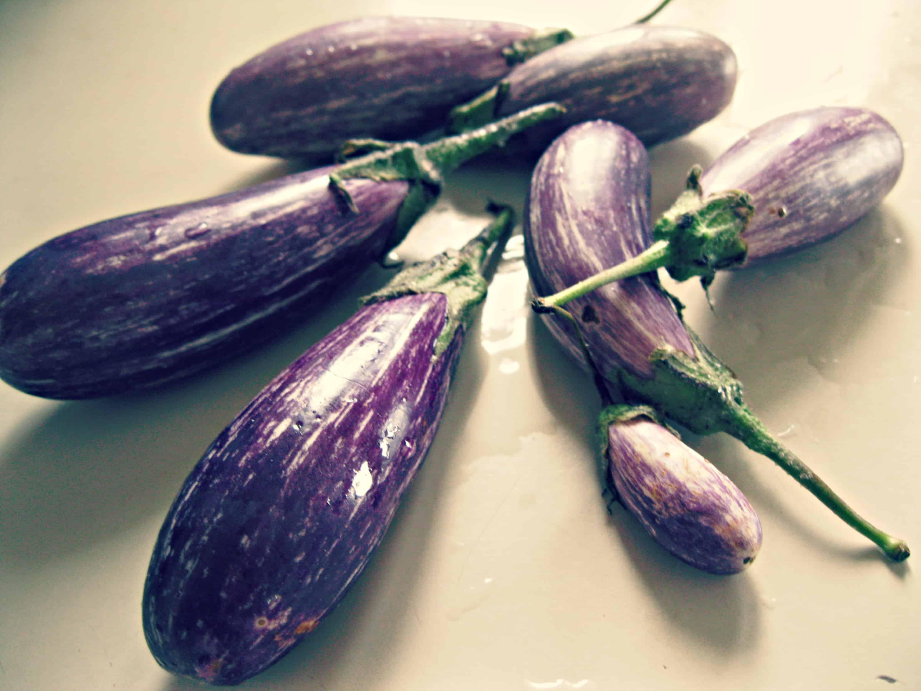 A half dozen fairytale eggplant on a counter.