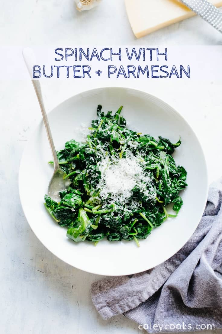 Vertical Pinterest image of spinach topped with butter and Parmesan.