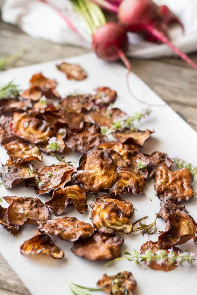Oven Baked Beet Chips (Video!)