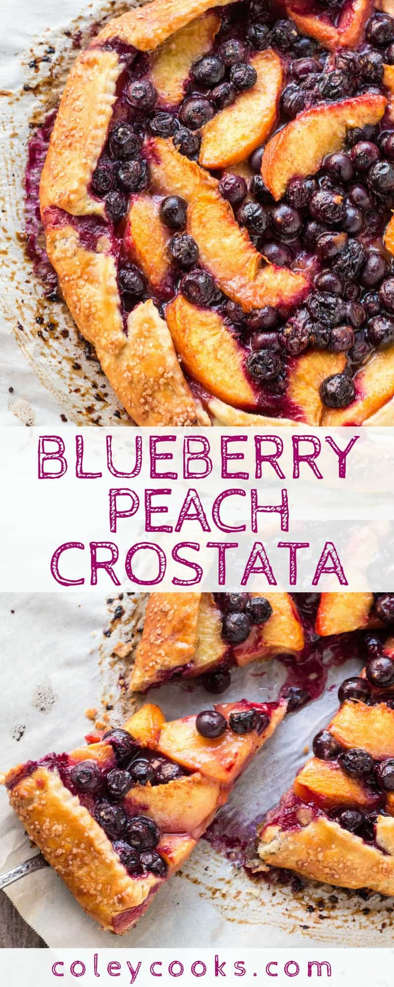BLUEBERRY PEACH CROSTATA | This easy summer dessert recipe combines peaches and blueberries in a simple Italian style free-form tart, like a galette! Easier alternative to pie! | ColeyCooks.com