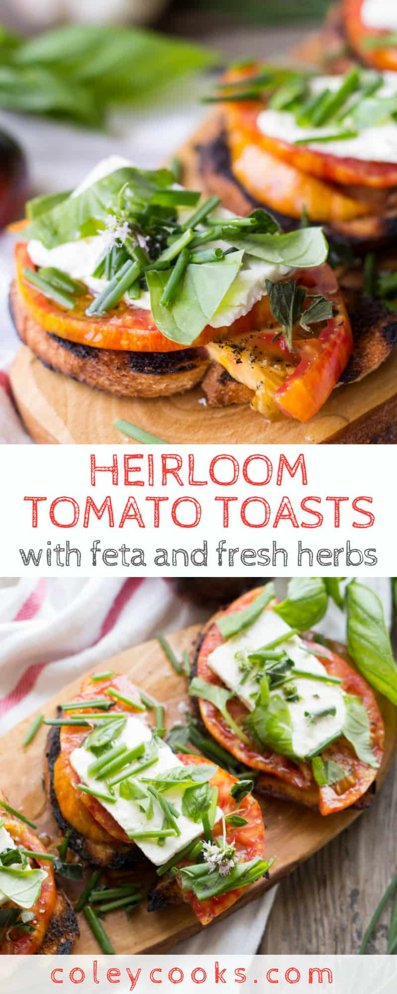 HEIRLOOM TOMATO TOASTS with FETA + HERBS | Easy summer appetizer made with juicy heirloom tomatoes, salty feta, and seasonal fresh herbs. #appetizer #heirloom #tomatoes #crostini #recipe #summer | ColeyCooks.com