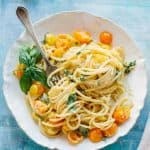 SUN GOLD TOMATO PASTA | This no cook sauce is so easy to make and allows those sugary sweet sun gold tomatoes to shine. My favorite pasta ever! #sungold #tomatoes #easy #pasta #recipe | ColeyCooks.com