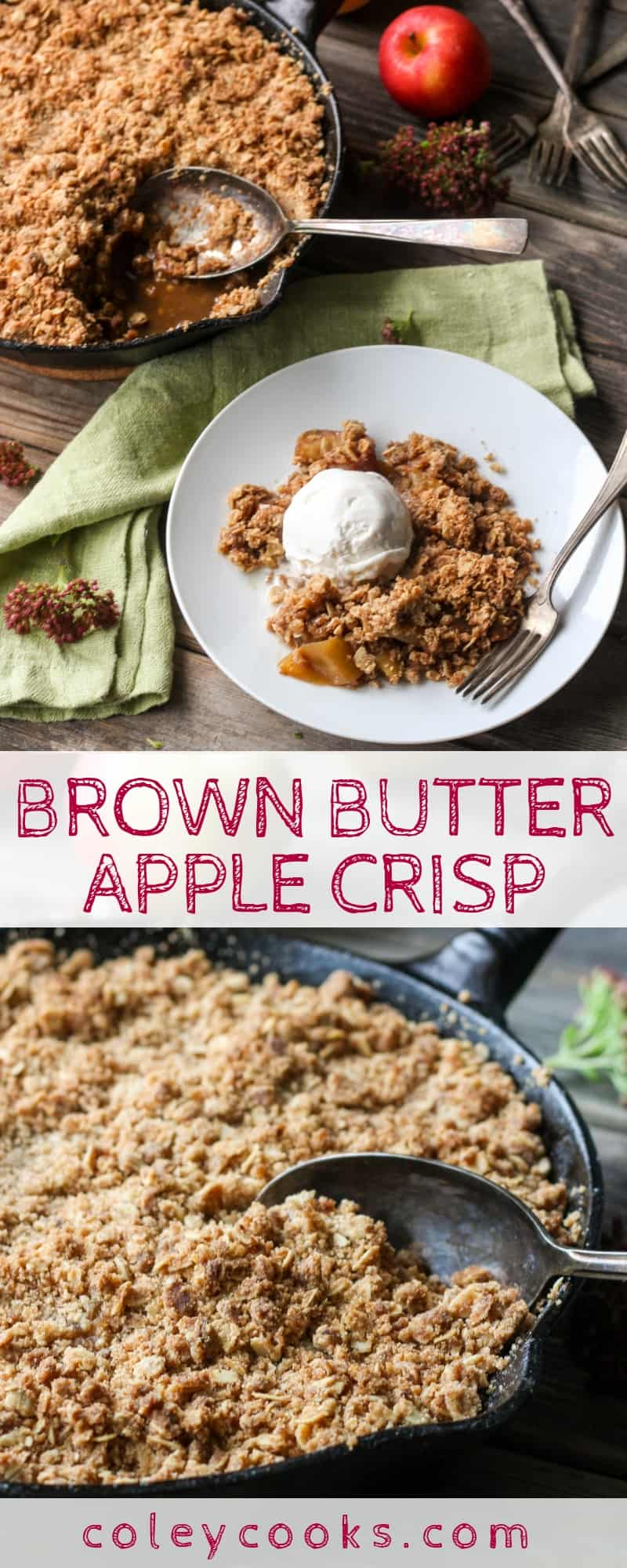 BROWN BUTTER APPLE CRISP | A delicious twist on a classic apple crisp made with nutty brown butter and a crumbly oat topping! #apples #apple #crisp #dessert #recipe #applecrisp #cinnamon #brownbutter #thanksgiving #fall | ColeyCooks.com