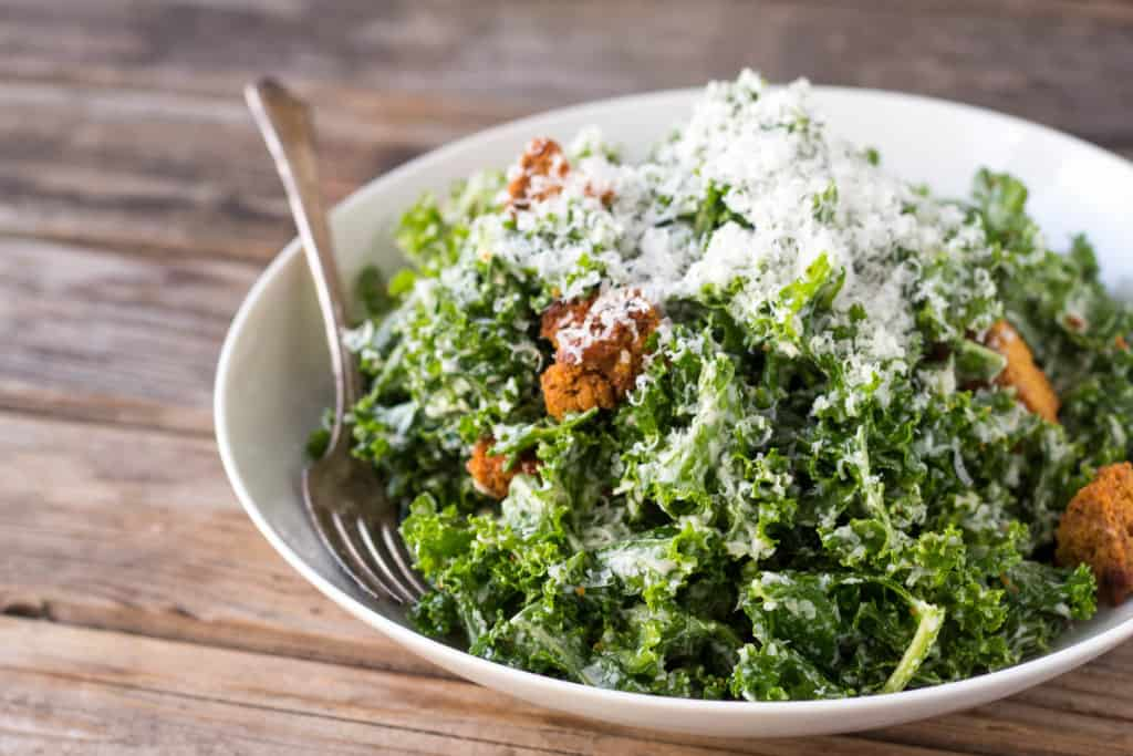 Kale Caesar Salad with Cornbread Croutons | Coley Cooks...