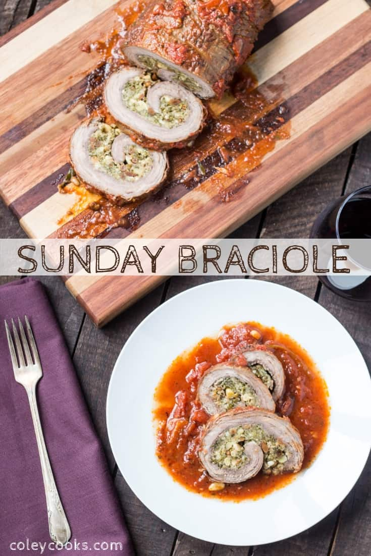This classic recipe for Italian Braciole is the best you'll ever have! Tender beef rolled up with breadcrumbs, pine nuts, raisins, cheese and simmered all day in a rich tomato sauce #easy #classic #traditional #braciole #recipe #raisins #beef #Italian #sicilian | coleycooks.com