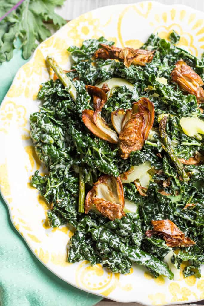 Fried Artichoke, Kale + Asparagus Salad with Pickled Celery + Creamy Parmesan Dressing