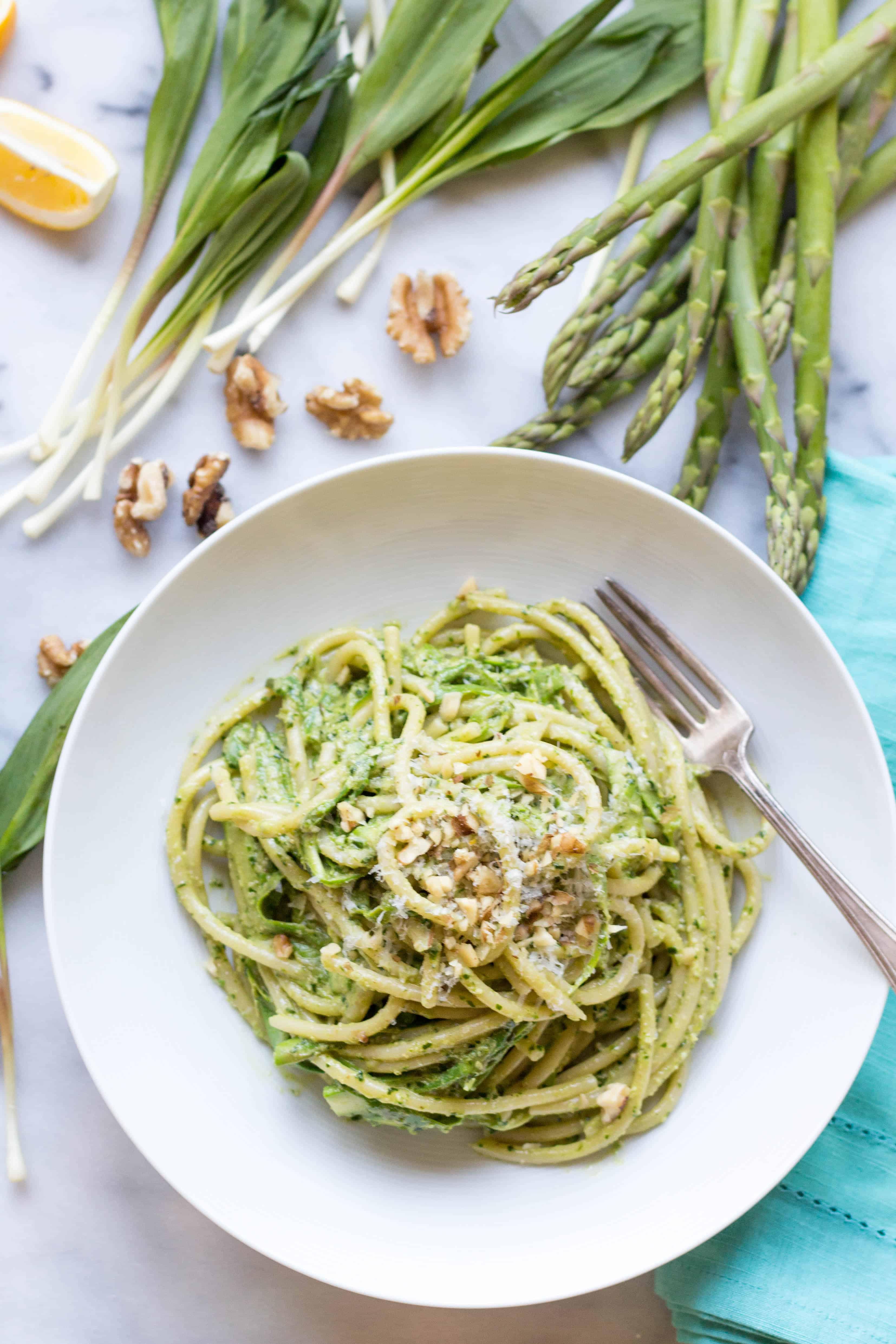 Pasta with Shaved Asparagus + Ramp Pesto