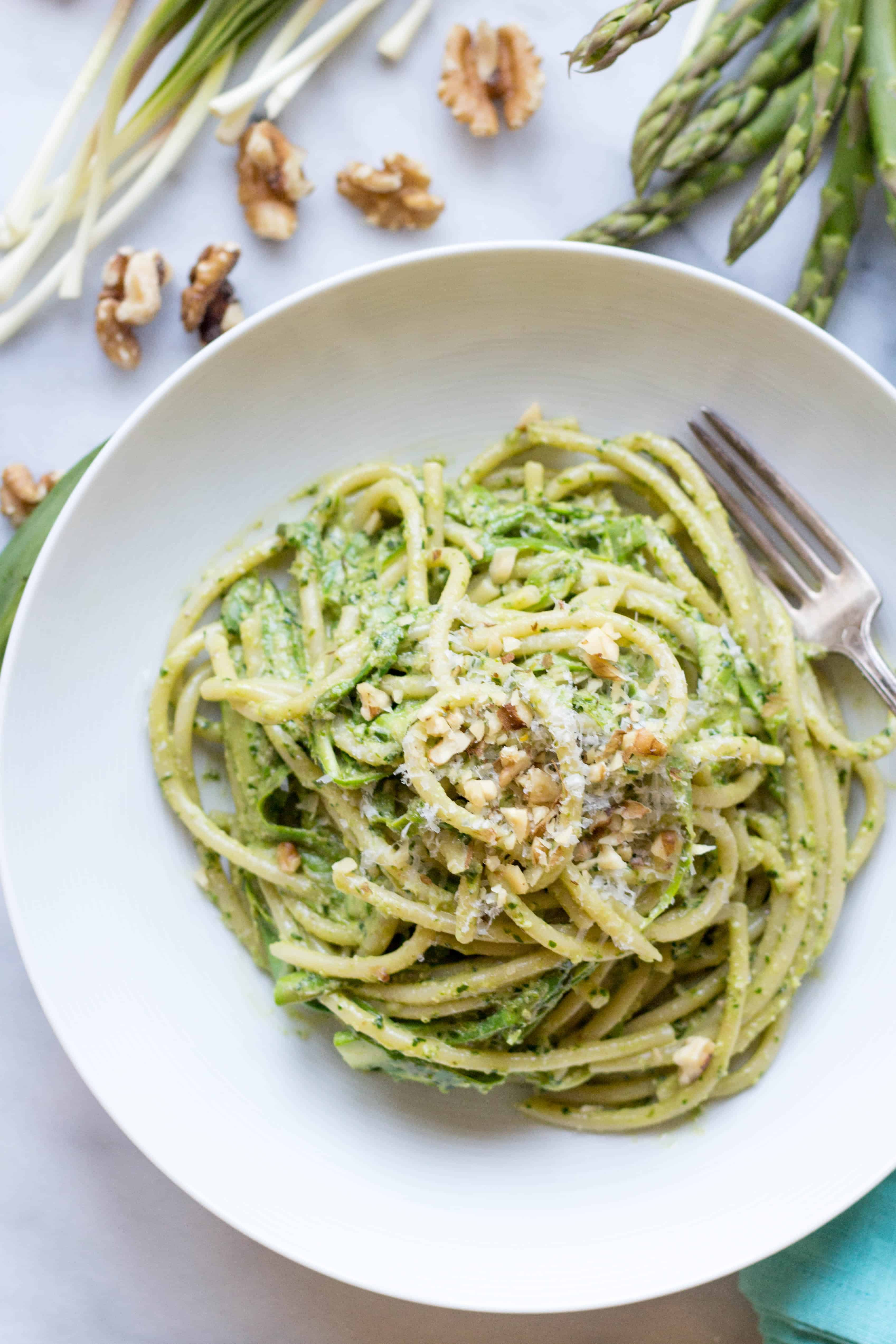 Pasta with Shaved Asparagus + Ramp Pesto | Coley Cooks...