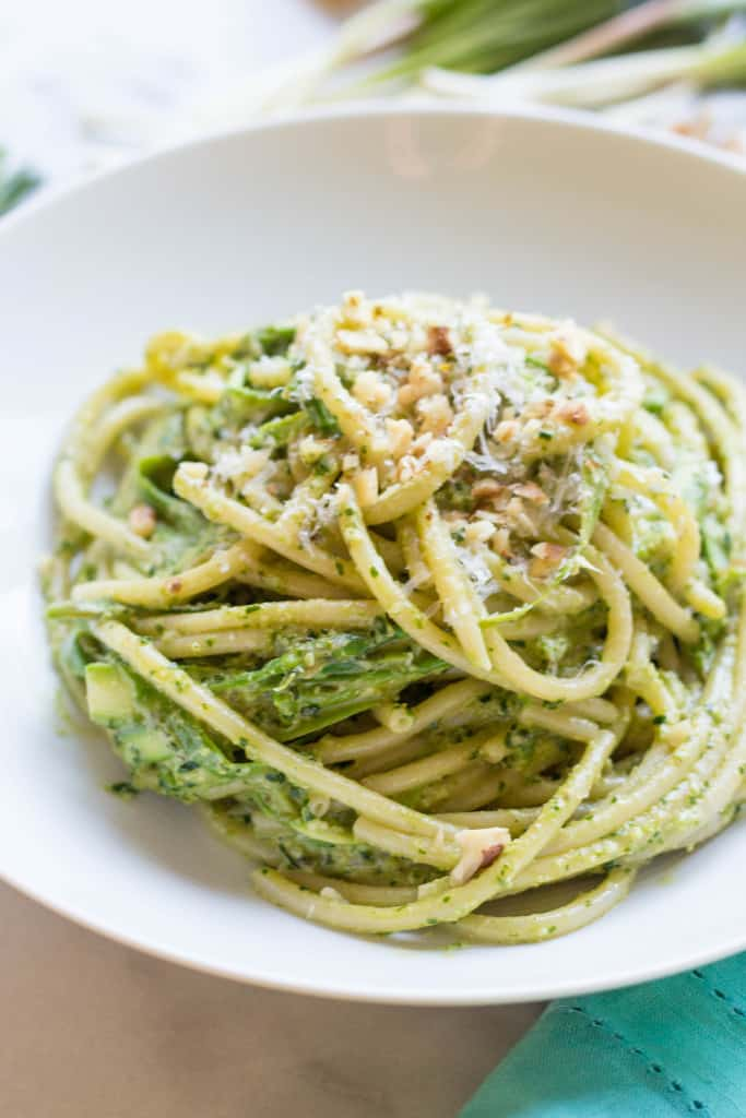 Pasta with Shaved Asparagus + Ramp Pesto