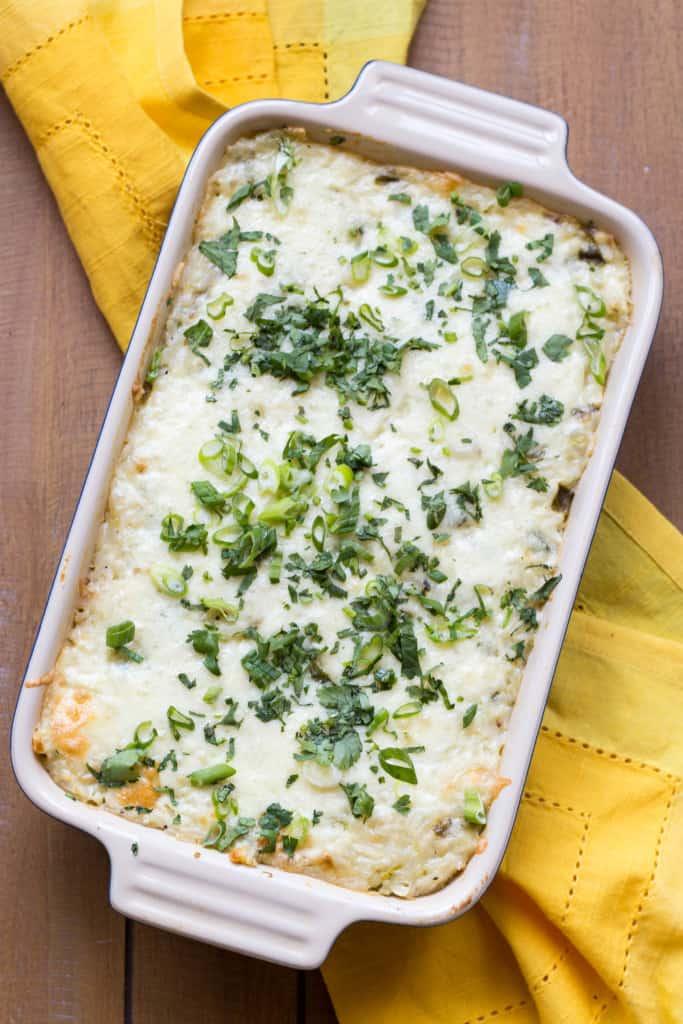 Cheesy Corn + Poblano Rice Casserole