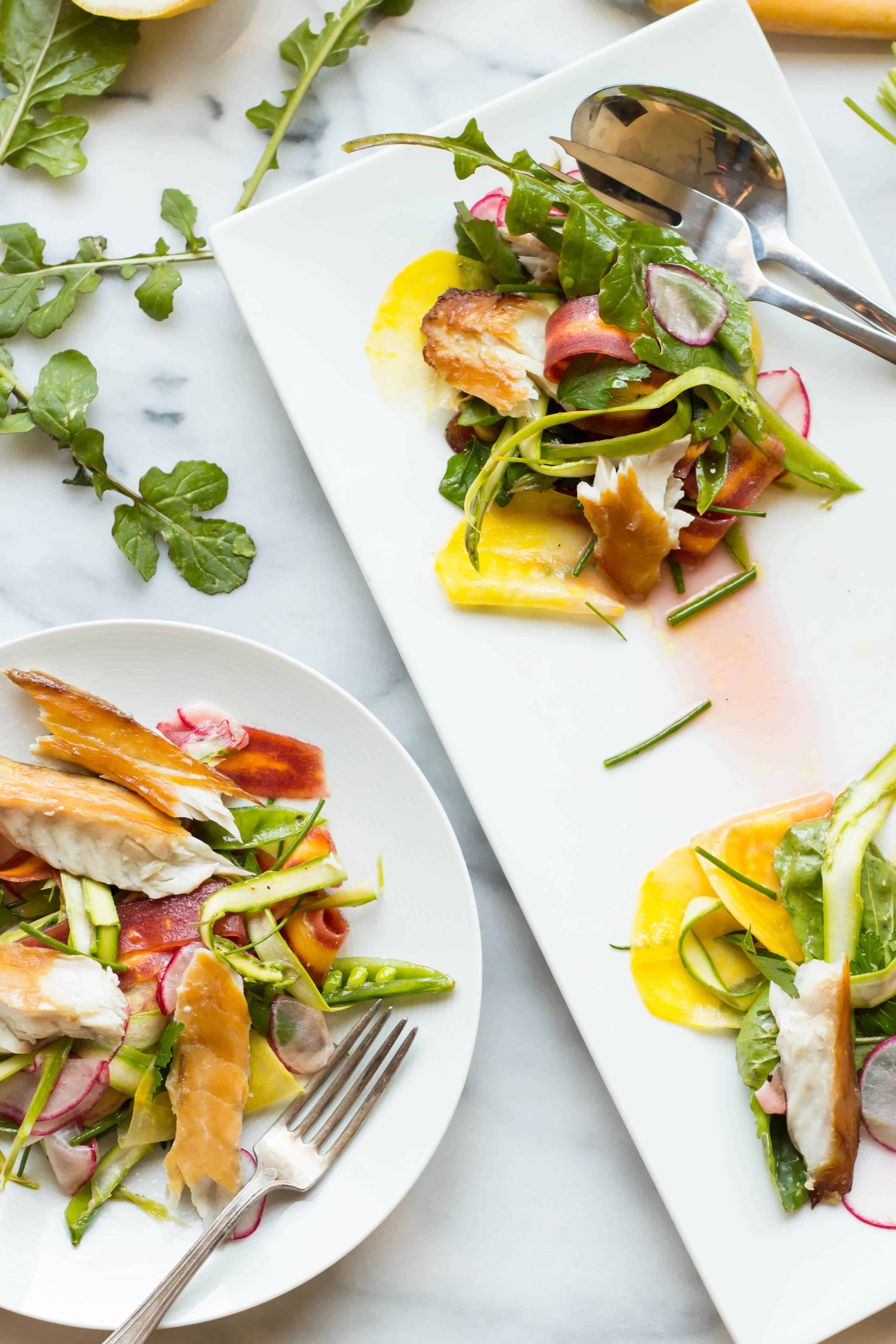 smoked barramundi with spring vegetable salad coley cooks