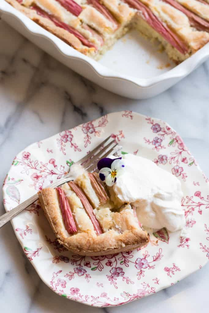 Rhubarb Almond Cake with Bourbon Whipped Cream