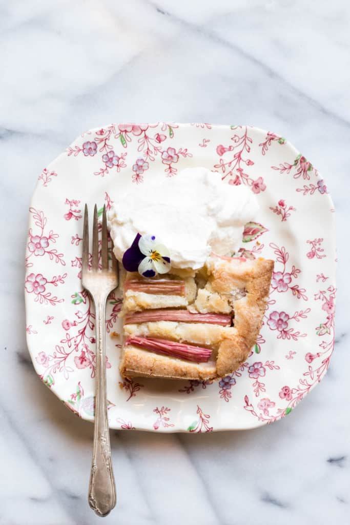 Rhubarb Almond Cake with Bourbon Whipped Cream