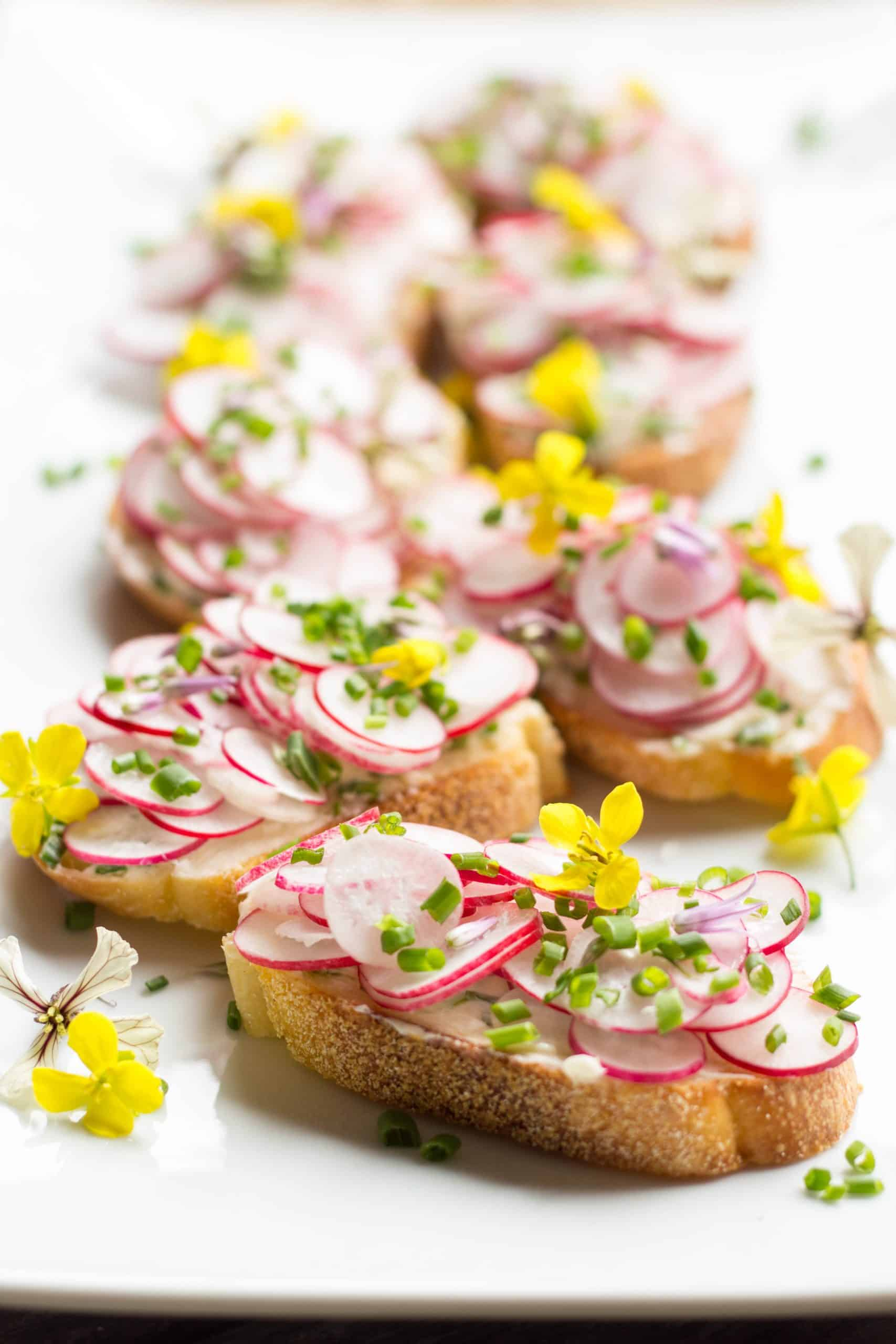 Radish Toasts with Chive Butter