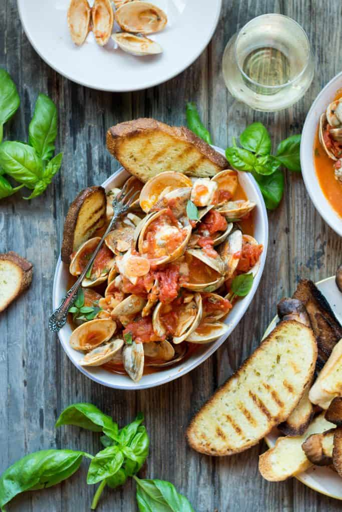 Clams with Tomatoes, Basil + Blue Cheese