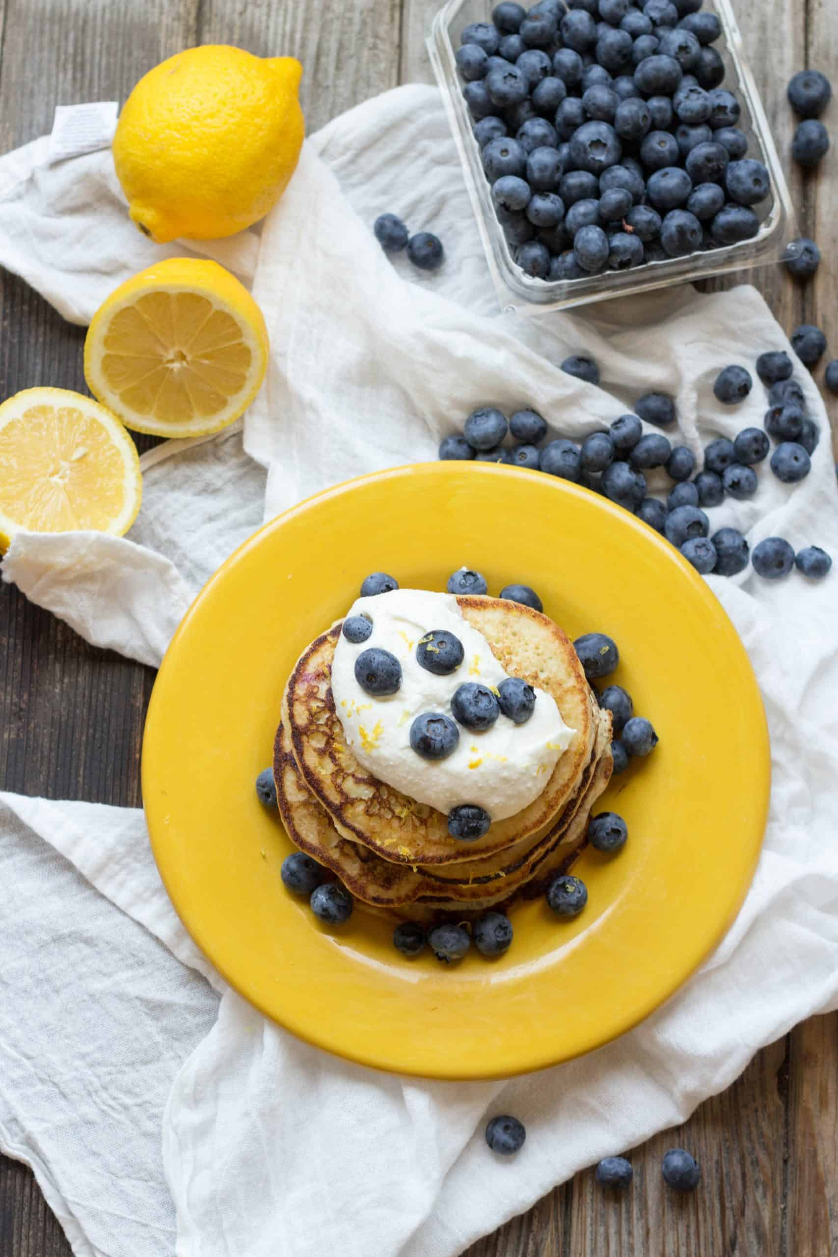 Lemon Blueberry Ricotta Pancakes (Video!)
