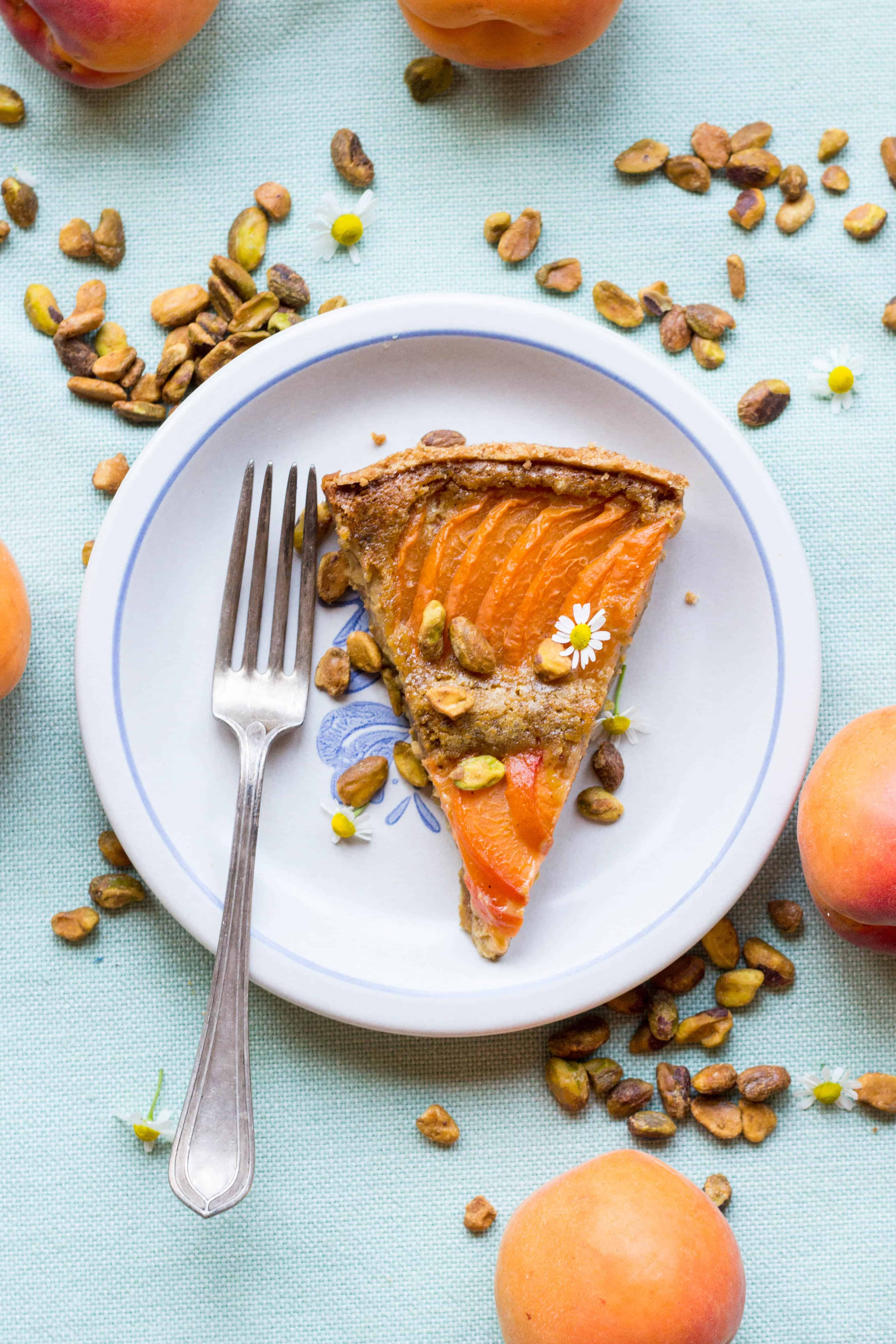Top view of a slice of apricot tart on a white dessert plate.