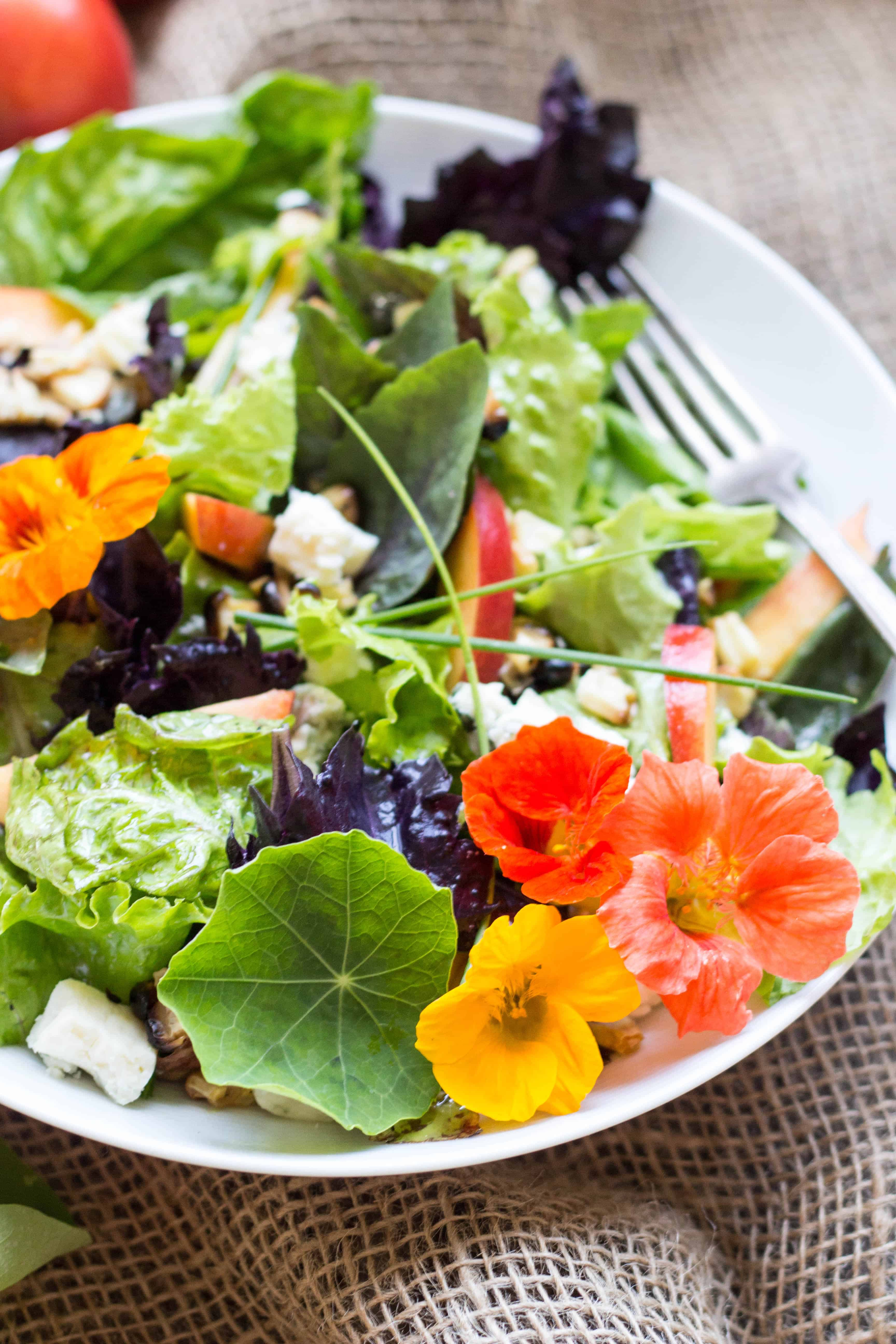 A plate of lettuce and edible flowers.