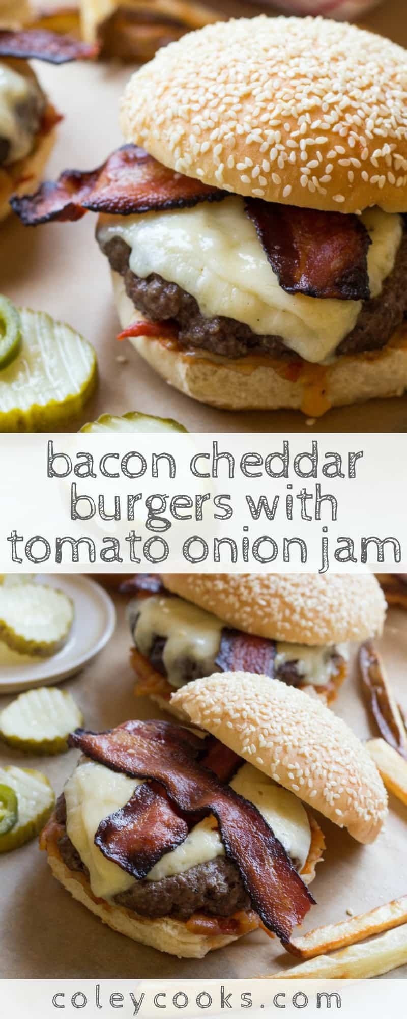BACON CHEDDAR BURGERS with TOMATO ONION JAM   The best cheeseburgers ever! Smoky bacon, melted sharp cheddar, tangy tomato onion jam - perfection. #burgers #tomatoes   ColeyCooks.com