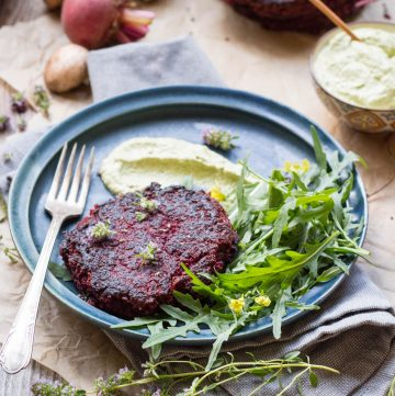 Lentil Beet Burgers with Green Goddess Dressing (Vegan + GF!)