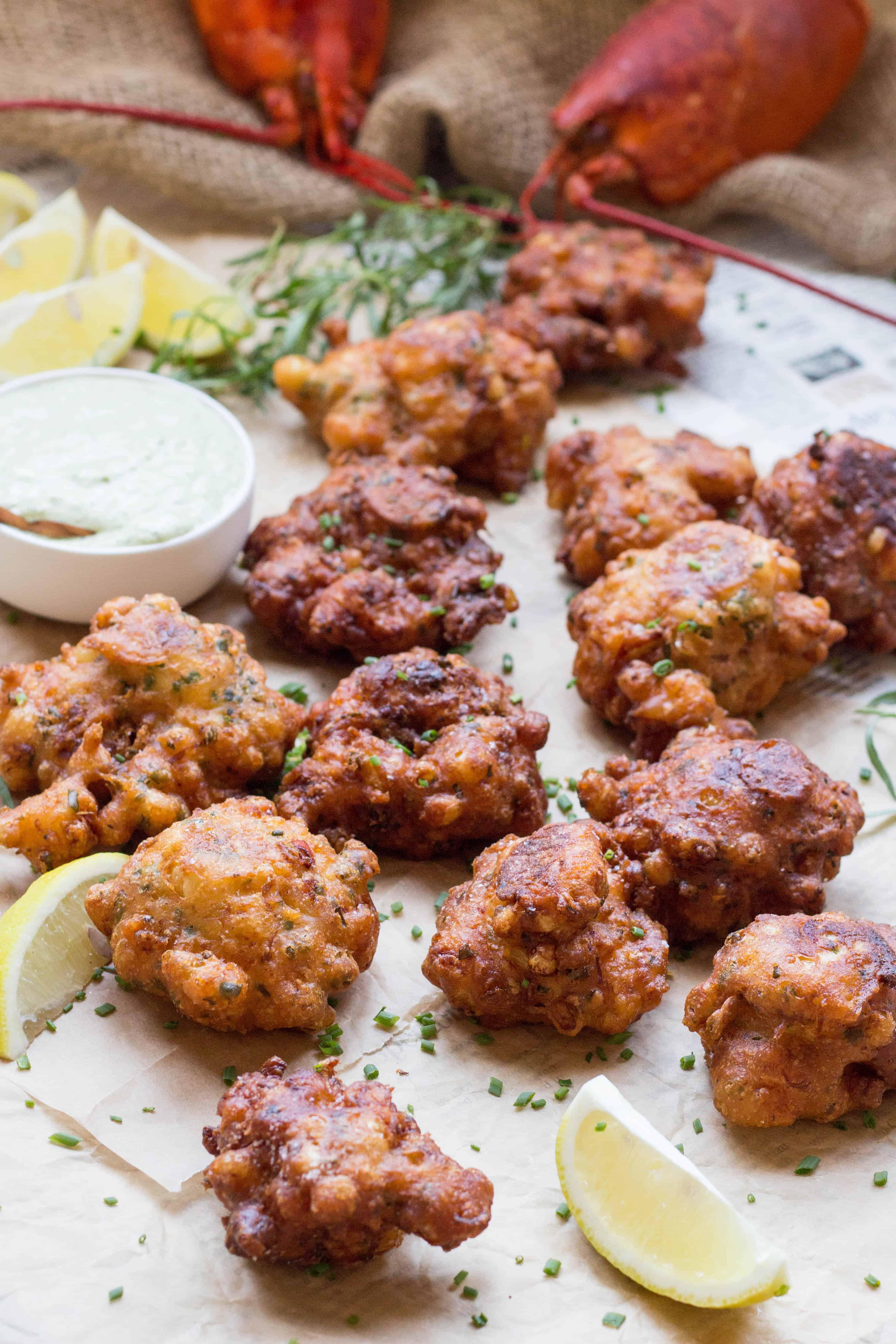 Lobster Corn Fritters with Tarragon Aioli