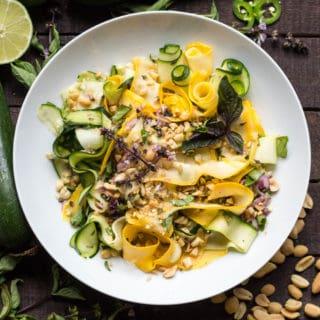 Shaved Summer Squash Salad with Thai Basil + Peanuts (Video!)