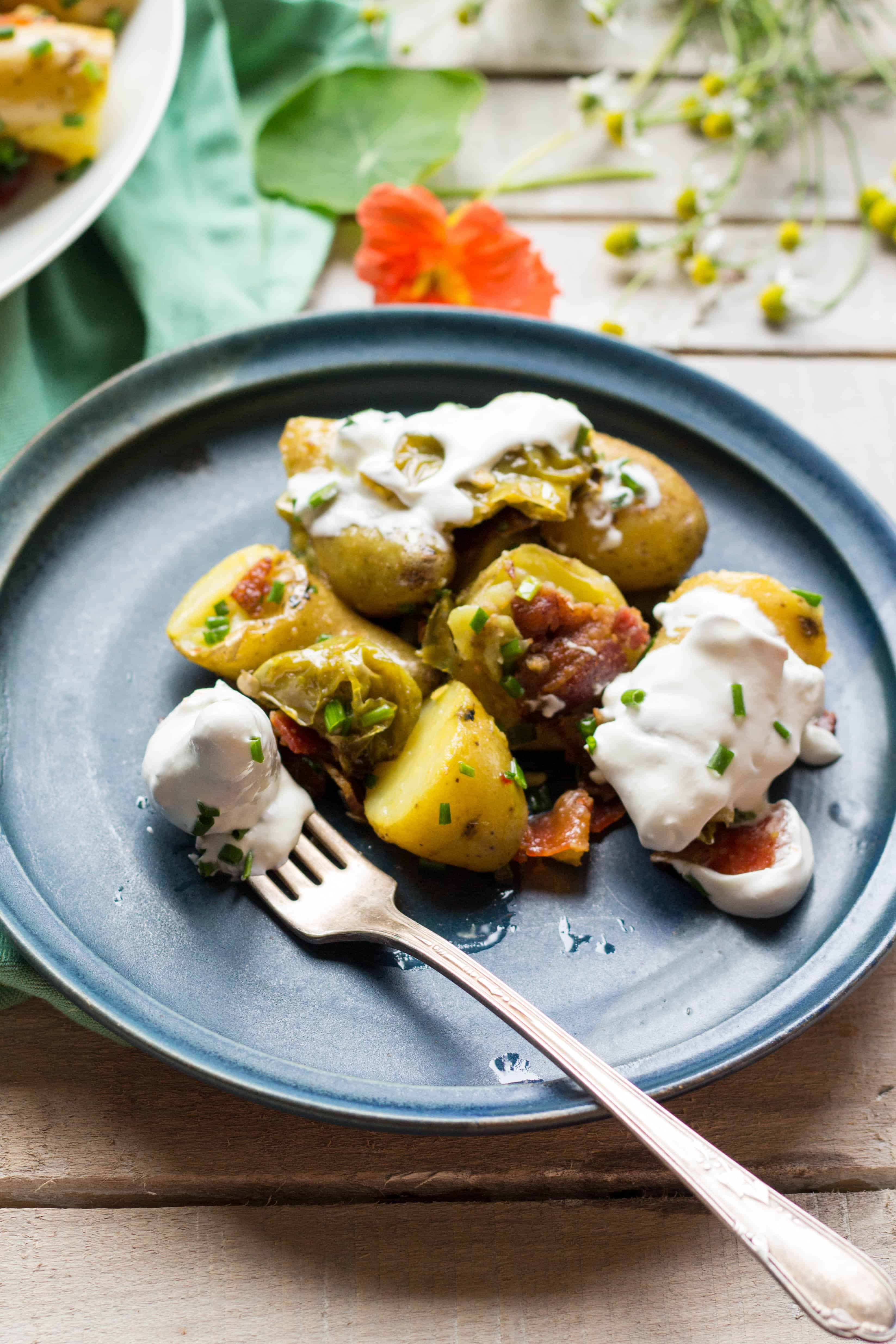 Warm Potato Salad with Bacon + Long Hots