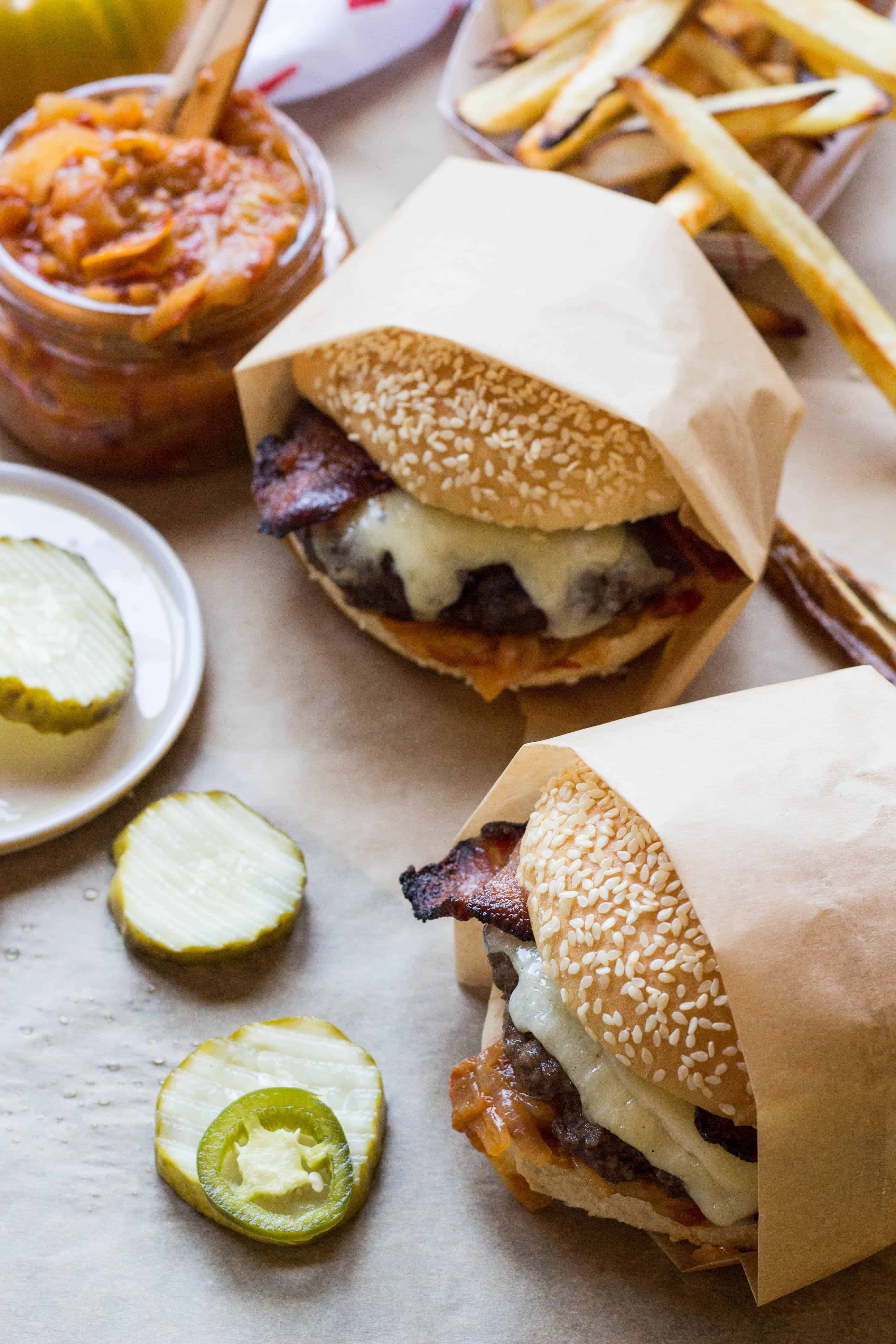 Bacon Cheddar Burgers with Tomato Onion Jam