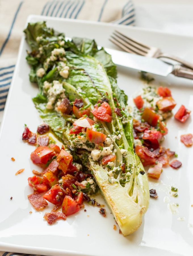 Grilled Romaine Wedge Salads with Blue Cheese Vinaigrette (Video!)