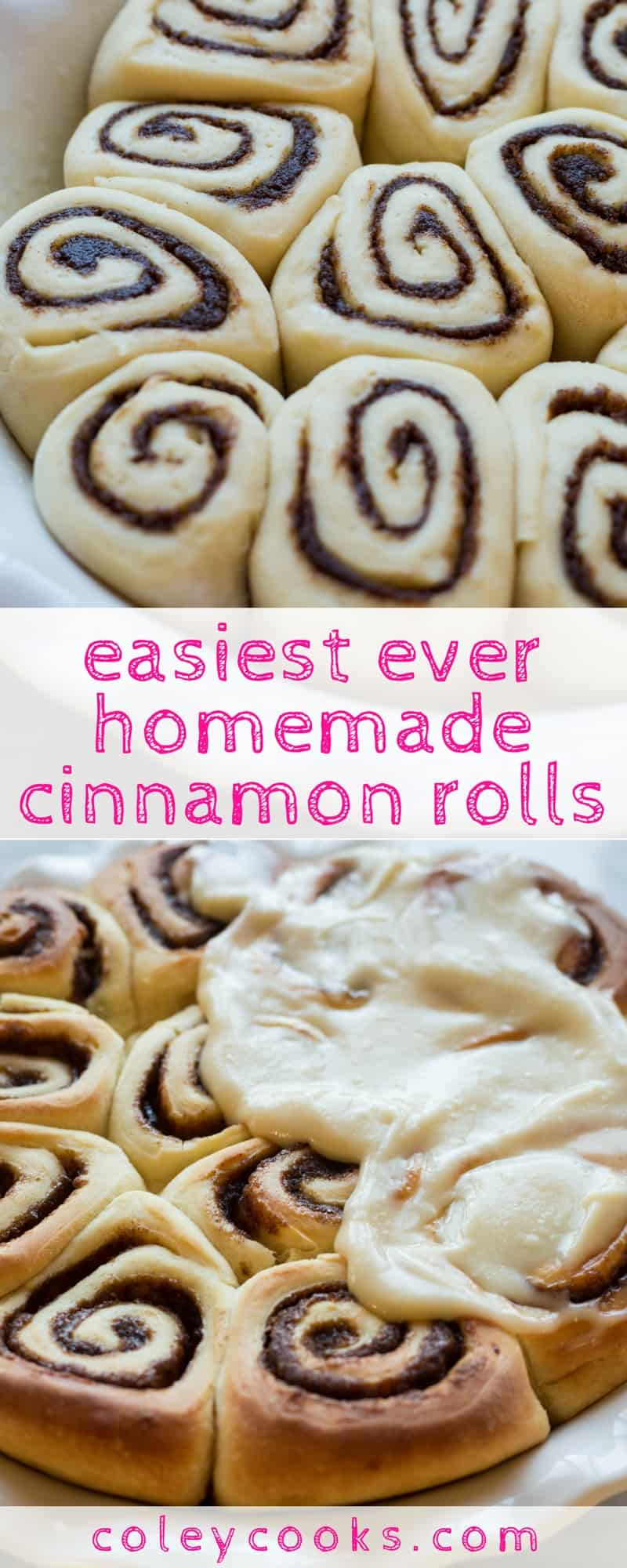 EASY CINNAMON ROLLS | The best easy recipe for homemade yeasted cinnamon buns with cream cheese frosting! This awesome breakfast : brunch recipe is on the table in 2 hours flat! | ColeyCooks.com