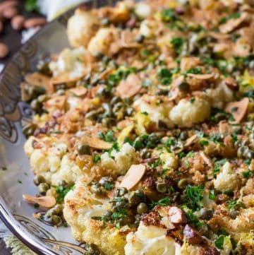 Roasted Cauliflower with Breadcrumbs, Capers, Almonds + Raisins