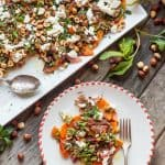 Roasted Butternut Squash with Goat Cheese, Hazelnuts + Lime