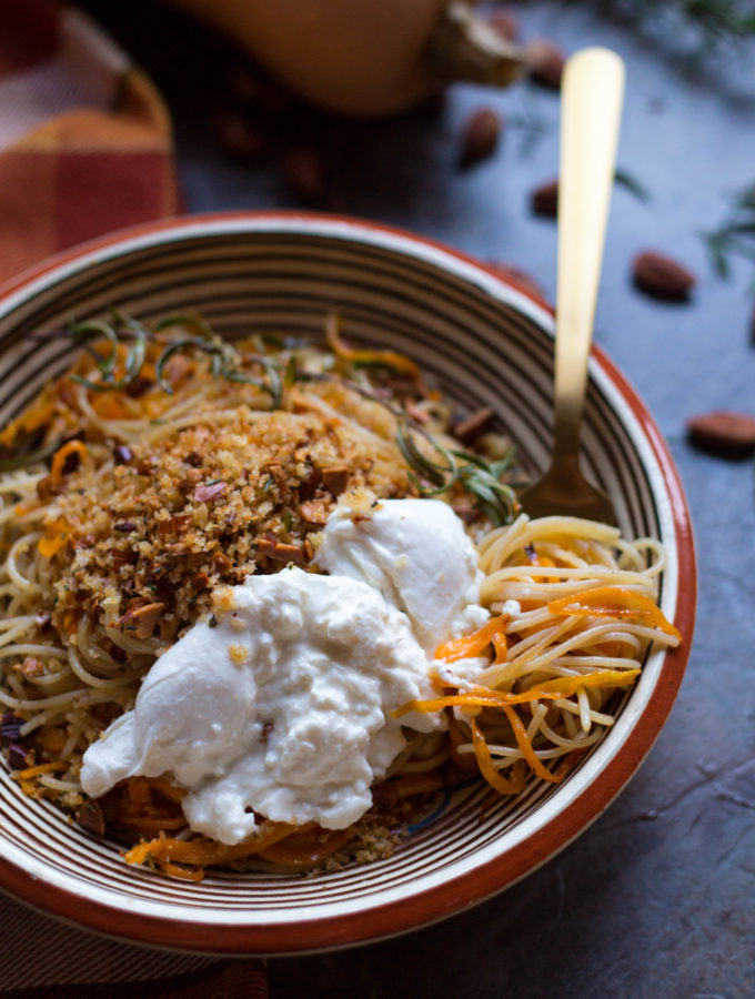 Butternut Squash Pasta with Brown Butter, Almond Breadcrumbs + Burrata