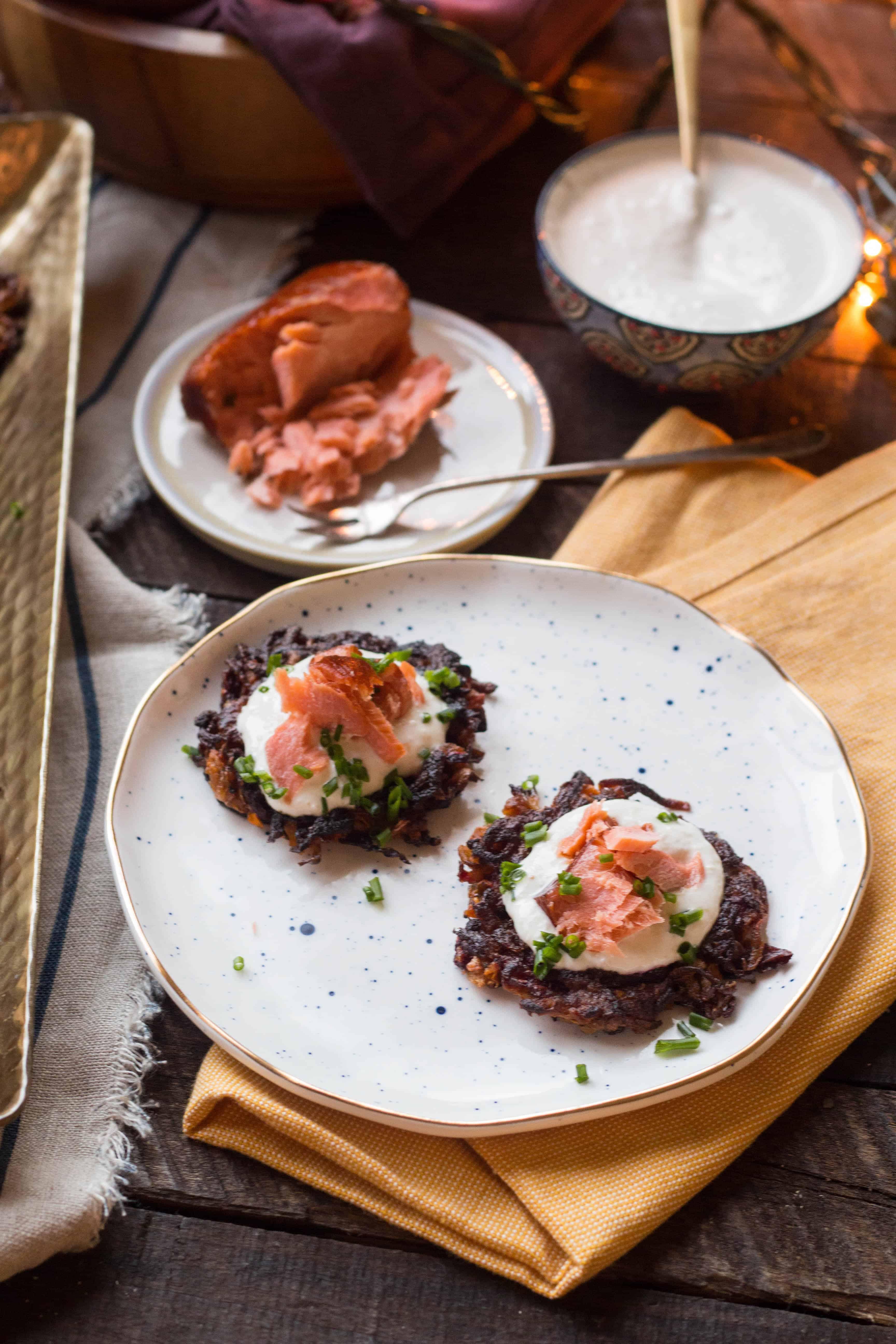 Beet + Carrot Latkes with Smoked Salmon + Horseradish Sour Cream