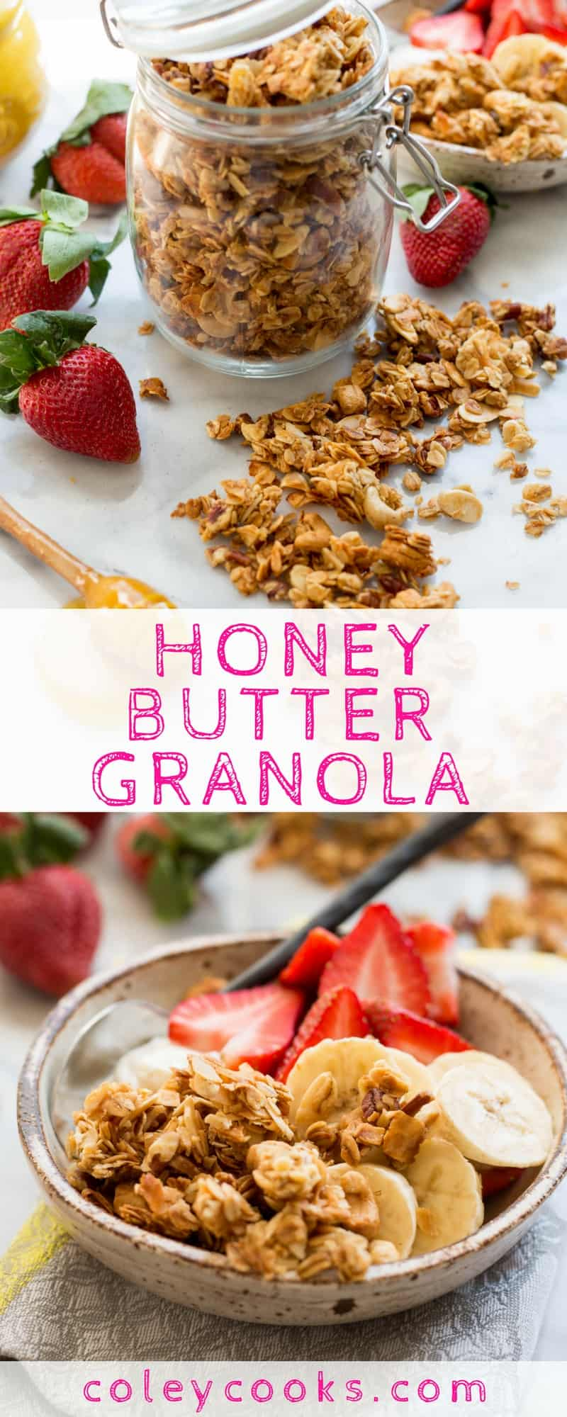 HONEY BUTTER GRANOLA | EASY gluten free granola recipe made with grass fed butter, sunflower seeds, and honey! Great for smoothie bowls, yogurt, or with milk! #glutenfree #breakfast | ColeyCooks.com