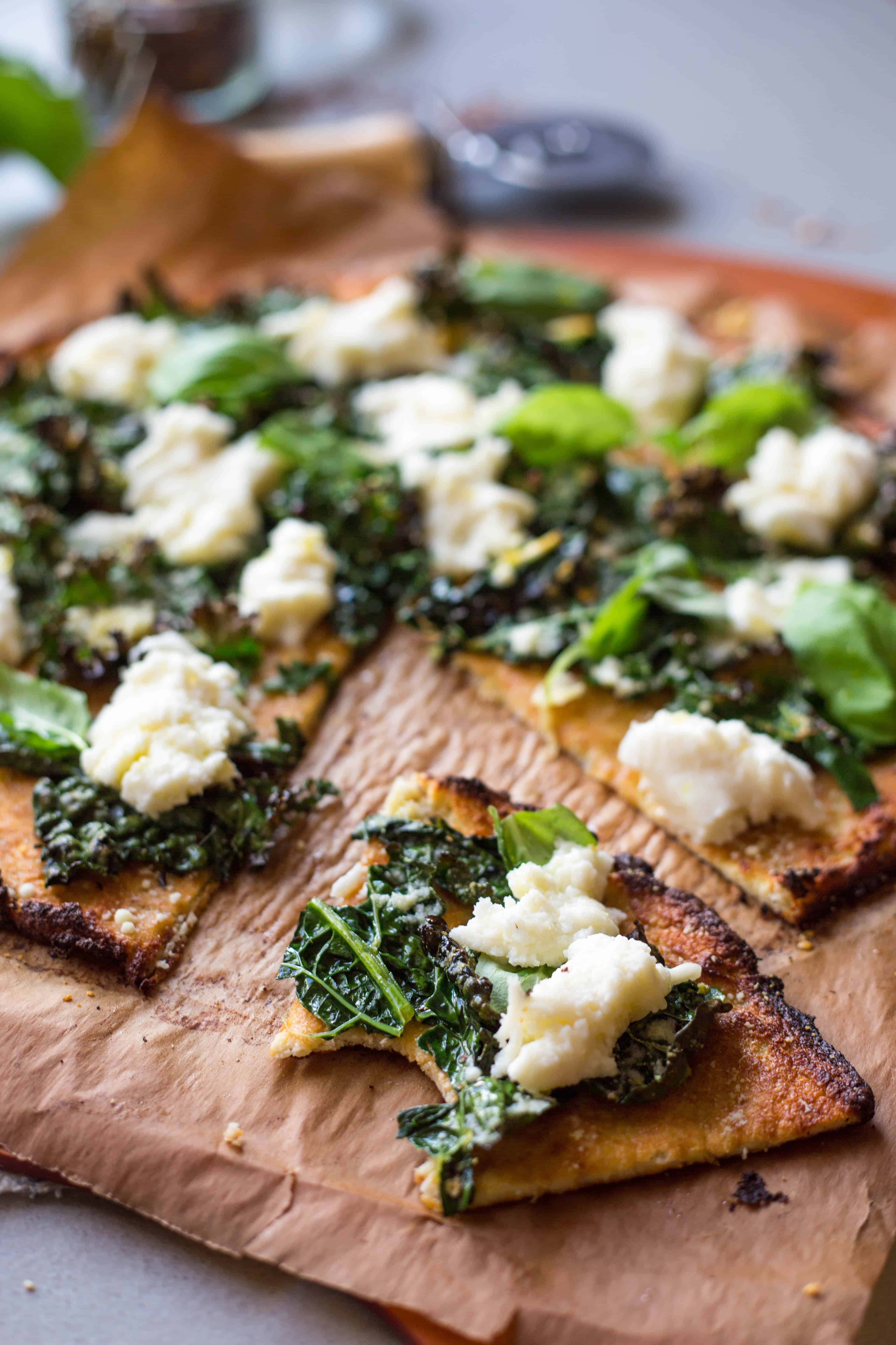 Cauliflower Crust Pizzas with Lemony Kale + Fresh Mozz