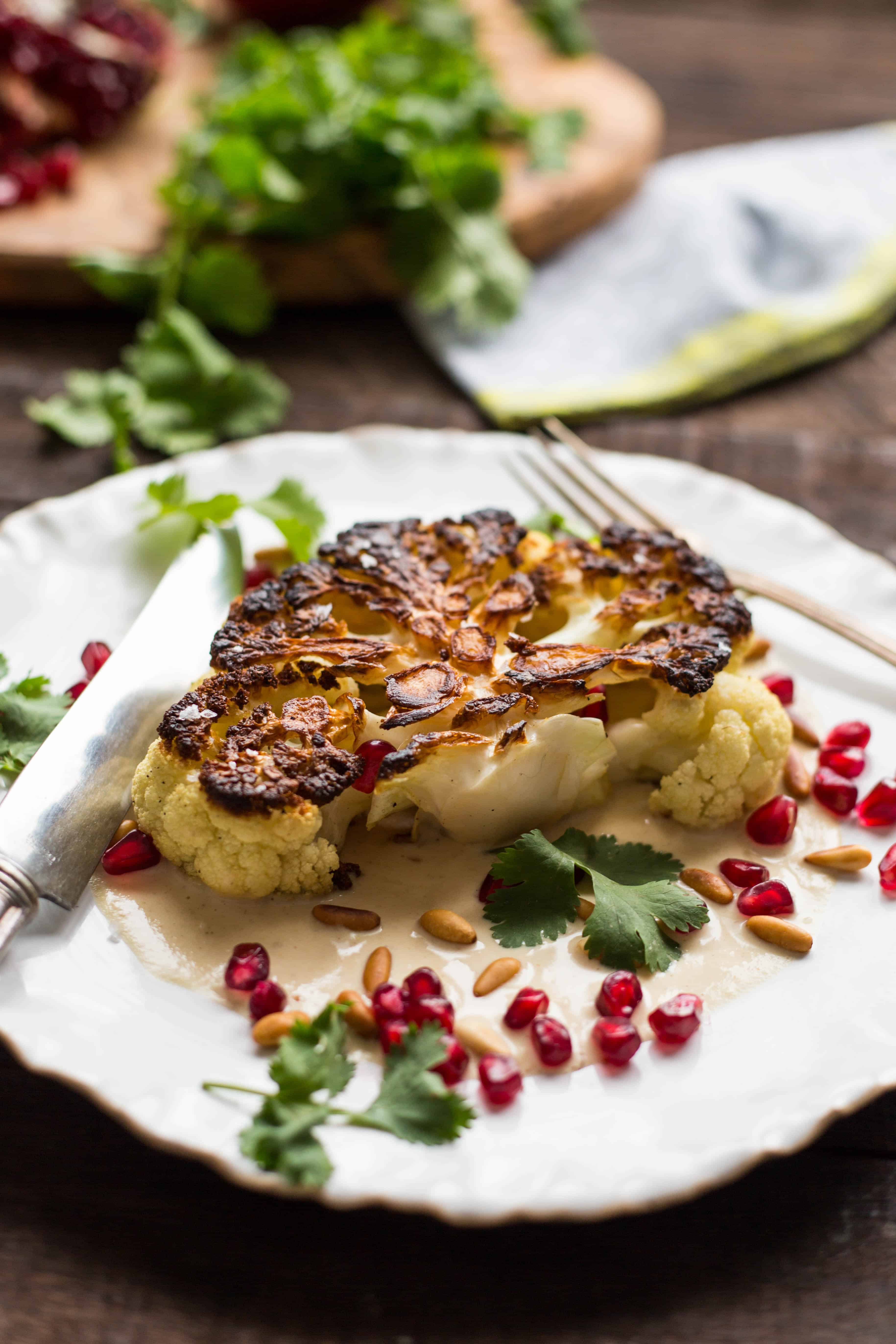 Cauliflower Steaks with Tahini and Pomegranate