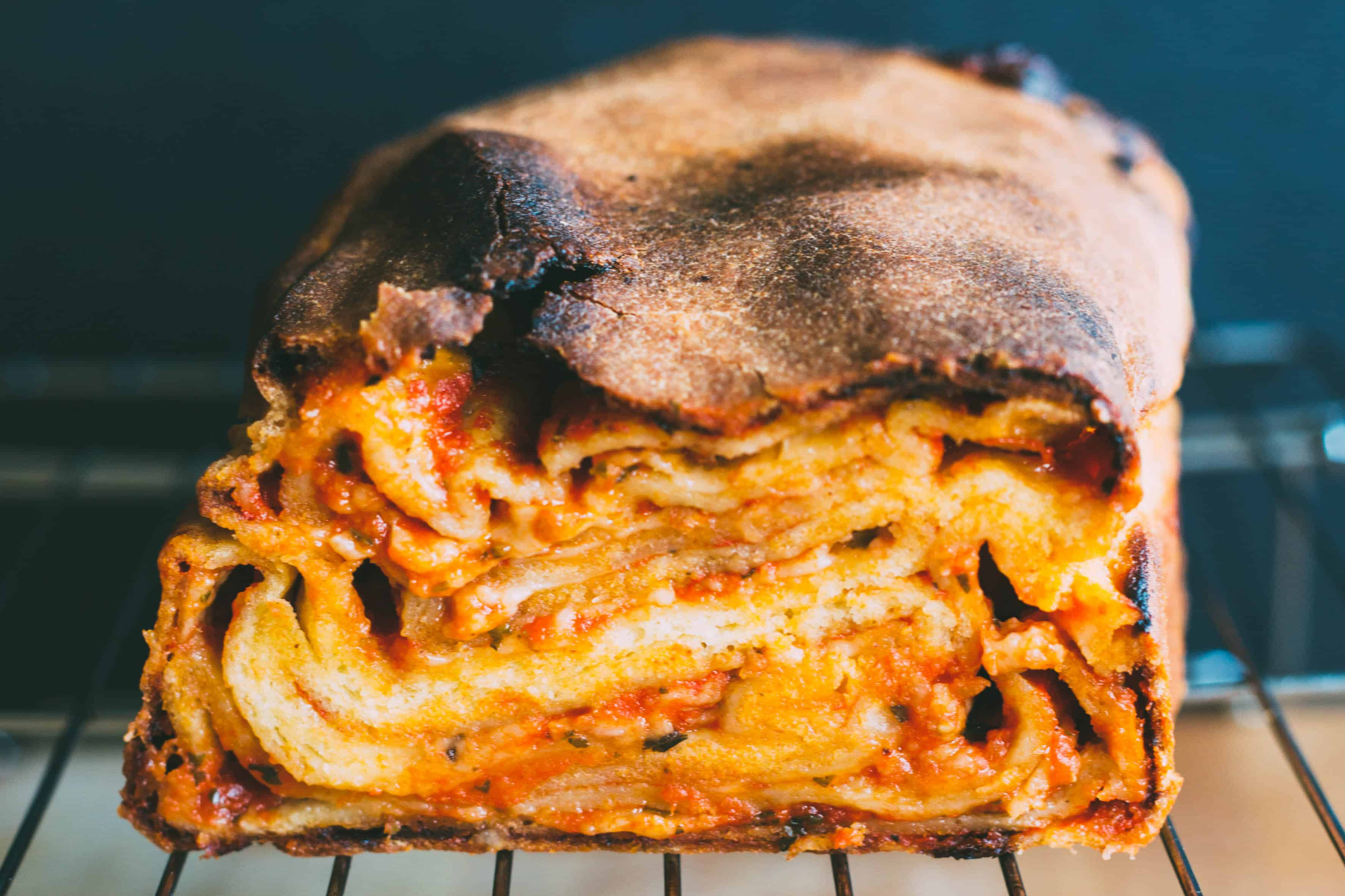 Close up of layers of dough inside a pizza babka.