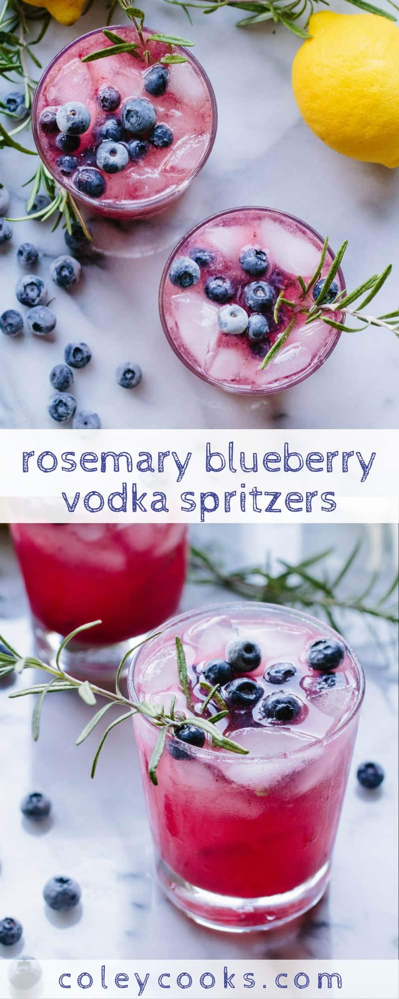 ROSEMARY BLUEBERRY VODKA SPRITZERS | Easy light and refreshing vodka cocktails! This boozy beverage is bubbly, tangy, and not too sweet! Perfect for summer sipping! | ColeyCooks.com