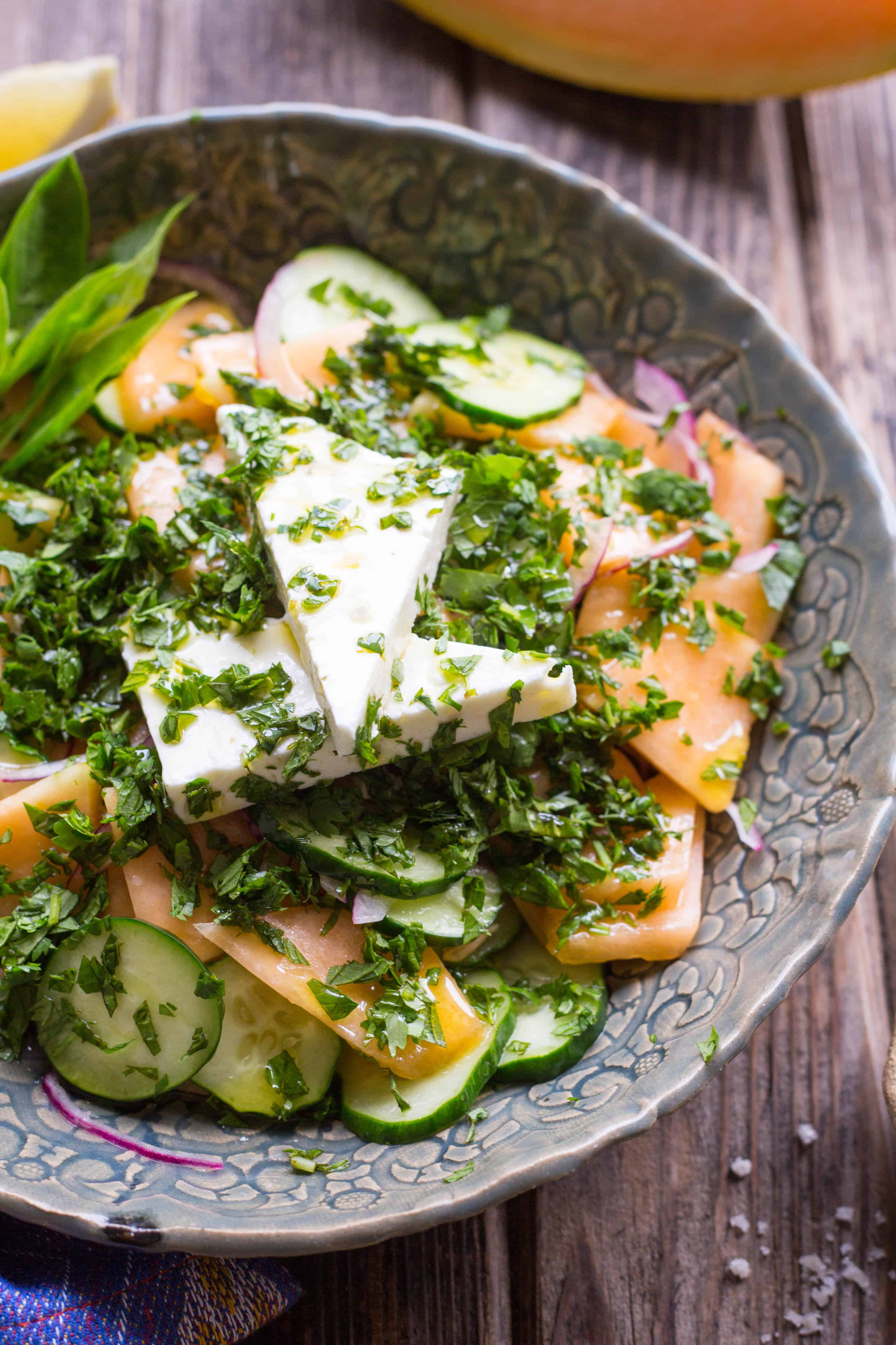 Easy summer recipe! Cucumber Melon Salad with feta and mint | ColeyCooks.com