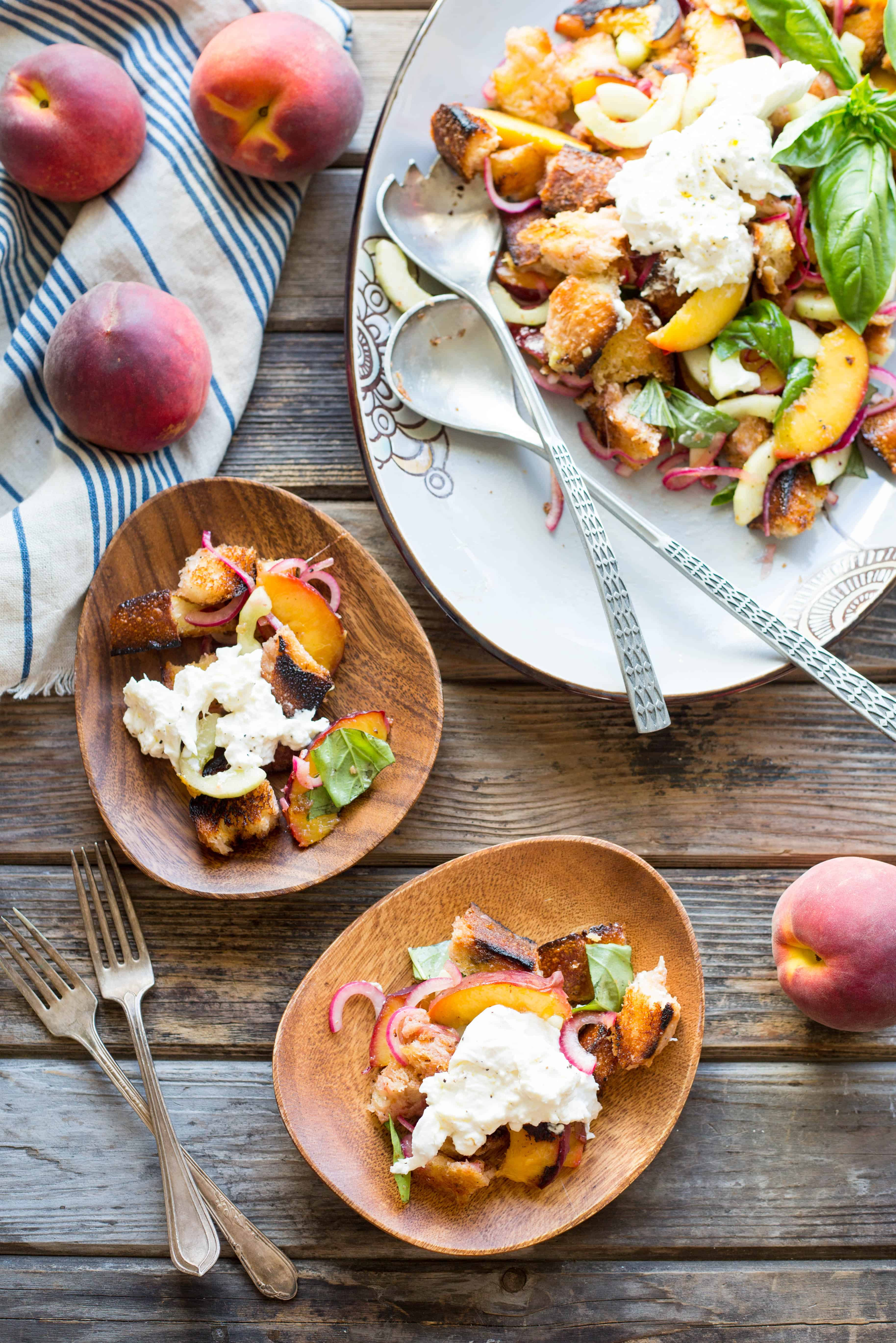 Grilled Peach Panzanella with Burrata   ColeyCooks.com