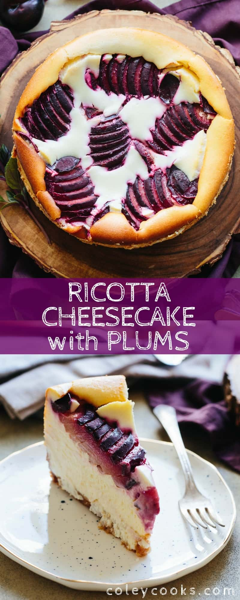 Ricotta Cheesecake with Plums - the lightest, most incredible ricotta cheesecake studded with sweet summer plums in a buttery graham cracker crust! #best #ricotta #cheesecake #dessert #easy #recipe | ColeyCooks.com