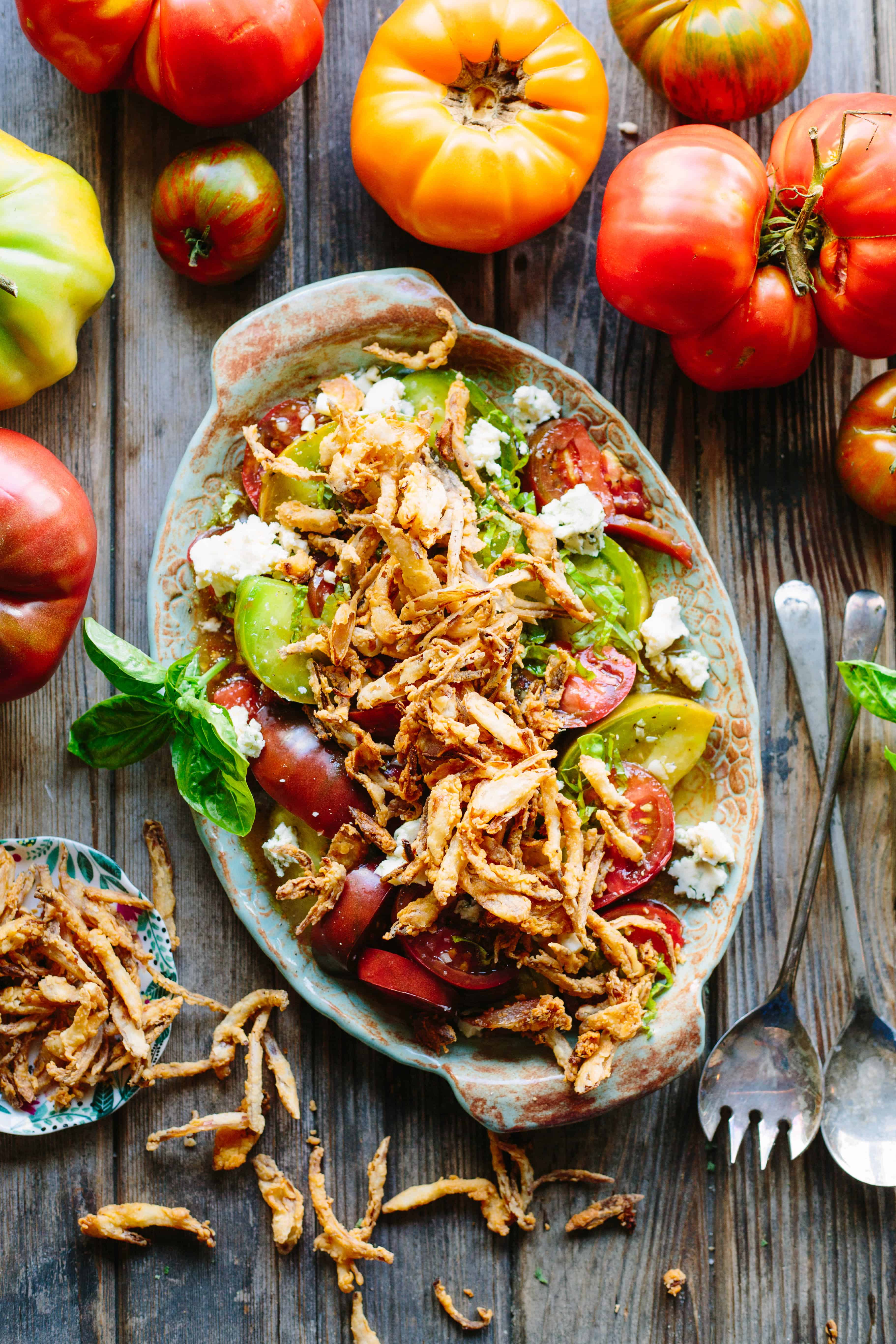 tomato salad with blue cheese and fried shallots