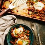 Baked Sweet Potato + Chorizo Hash with Eggs