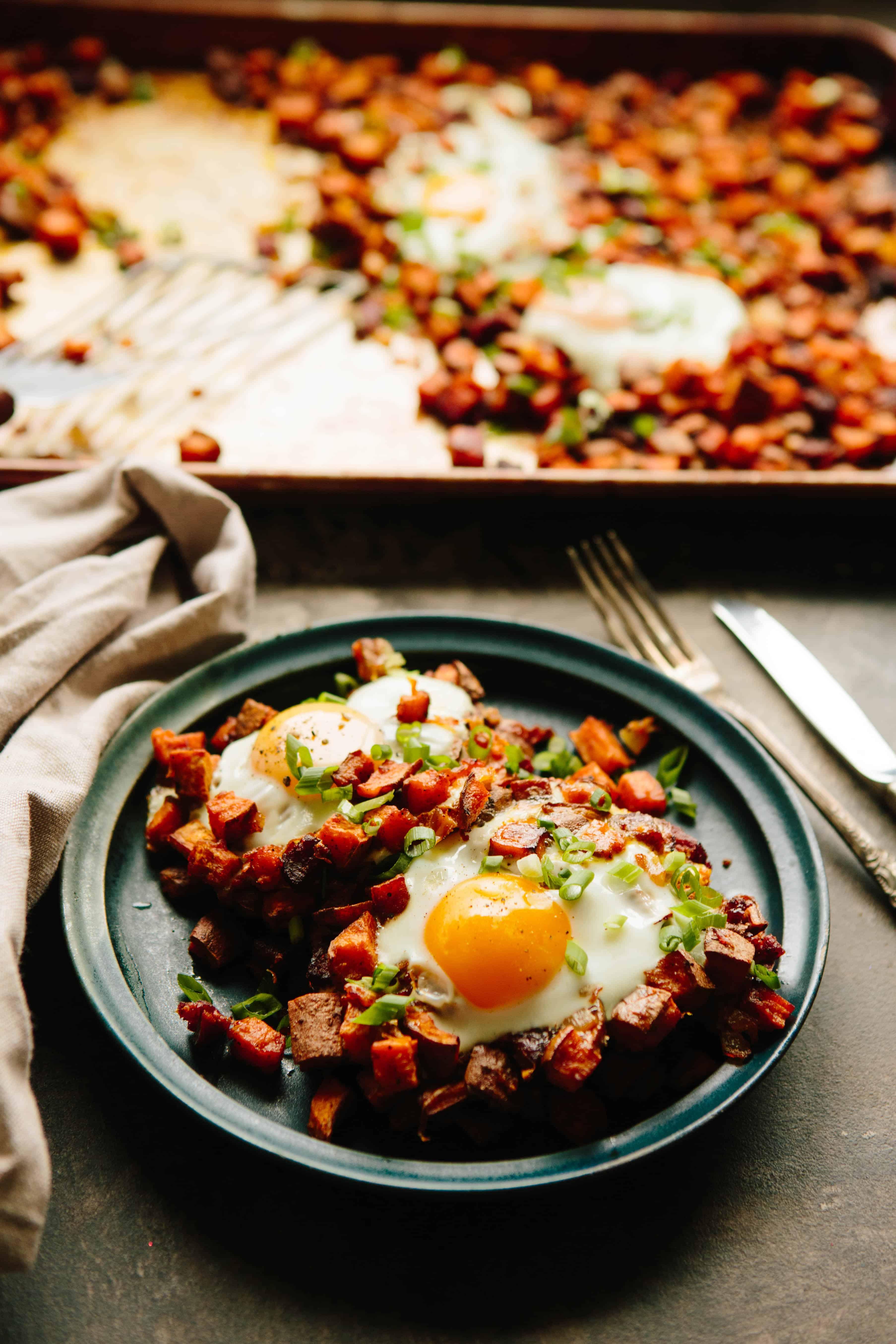 Baked Sweet Potato + Chorizo Hash with Eggs | ColeyCooks.com