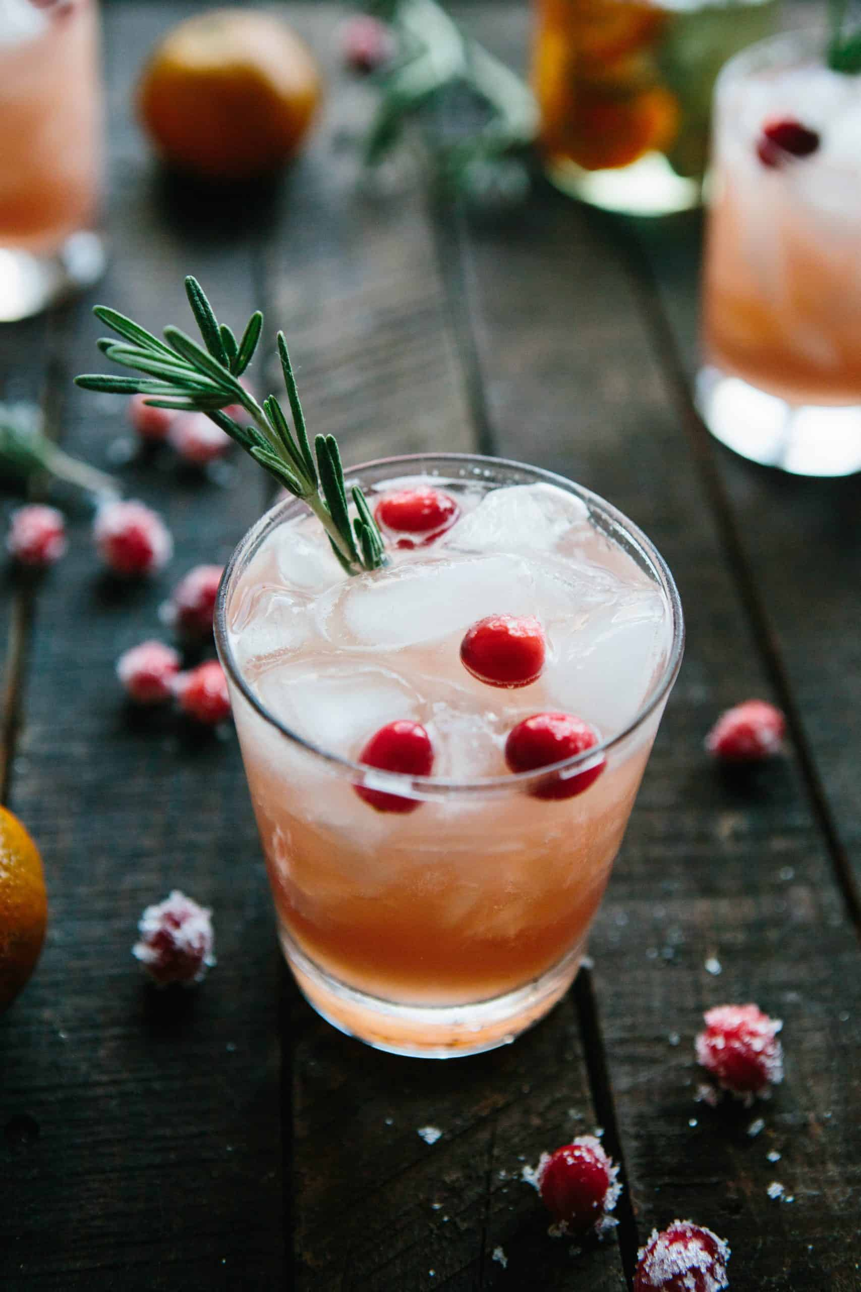 Cranberry, Clementine + Rosemary Cocktails | ColeyCooks.com