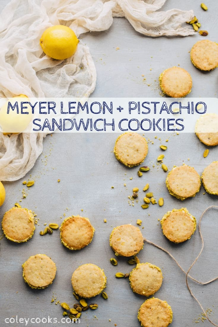Meyer Lemon + Pistachio Sandwich Cookies are beautiful tart, and delicious! Pistachio shortbread filled with Meyer lemon buttercream. Great for Christmas! #christmas #cookie #recipe #sandwich #lemon #pistachio #shortbread | ColeyCooks.com