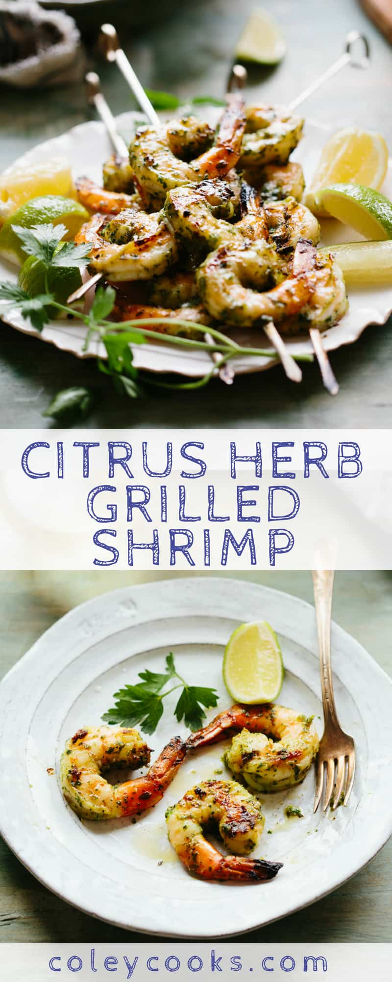 Citrus Herb Grilled Shrimp is easy, healthy and delicious dinner recipe! Great easy weeknight dinner idea or seafood appetizer. A great recipe for entertaining! #easy #shrimp #recipe #entertaining #grilled #dinner | ColeyCooks.com