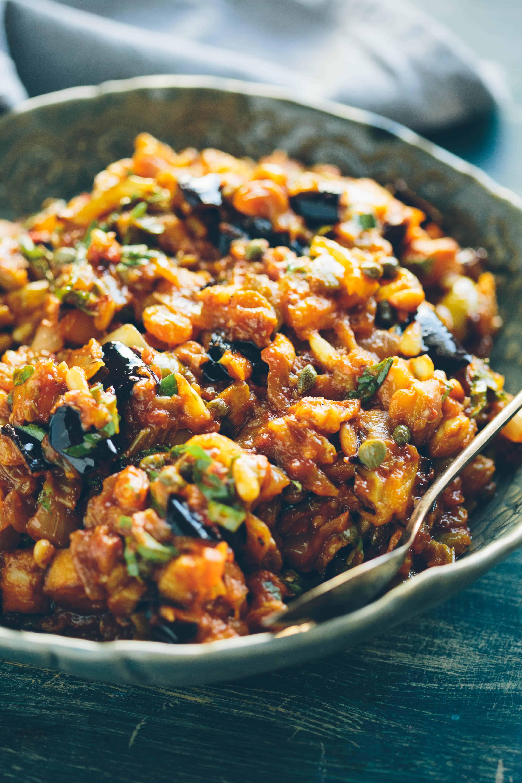 EGGPLANT CAPONATA | Traditional recipe for Sicilian eggplant relish. Sweet, sour, salty and so delicious! #Sicilian #eggplant #agrodolce #recipe #salad #relish | ColeyCooks.com