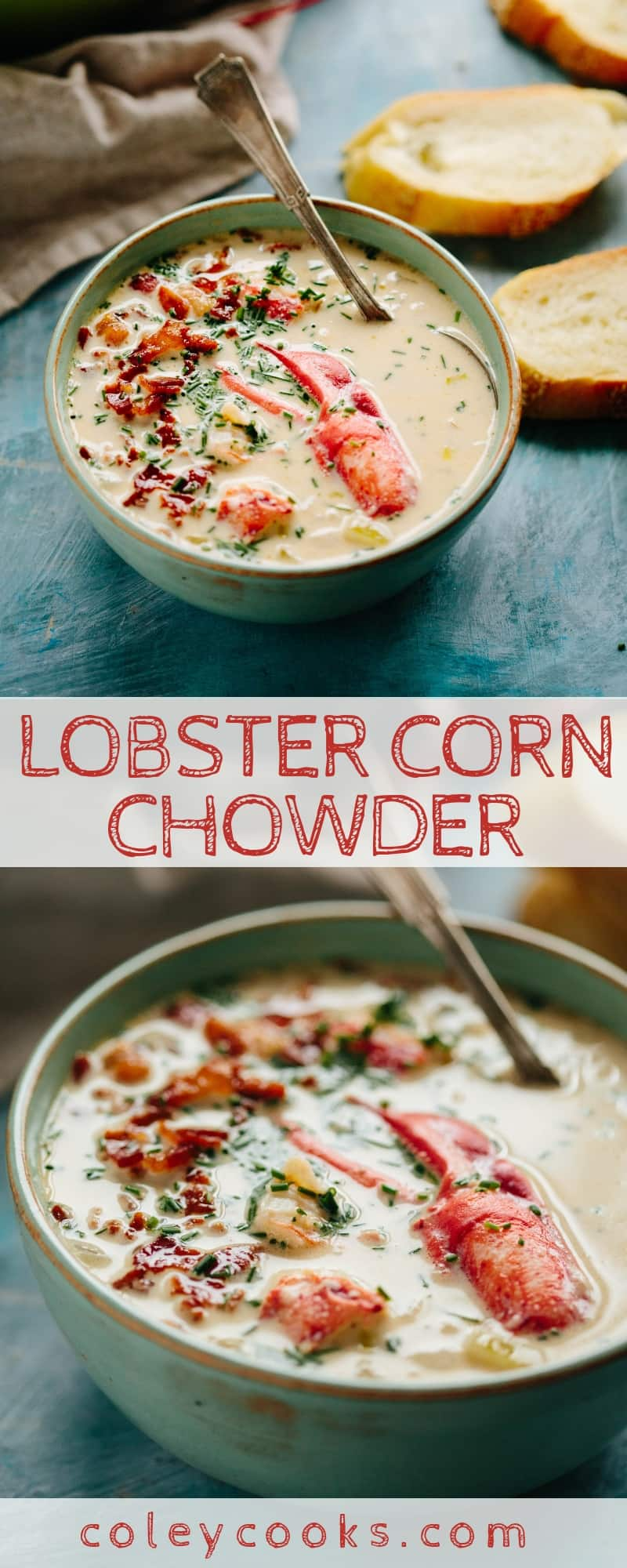 LOBSTER CORN CHOWDER | This recipe for lobster corn chowder is the perfect way to usher in fall. It's rich, flavorful and loaded with big chunks of lobster meat. #soup #lobster #corn #chowder #recipe #seafood | ColeyCooks.com